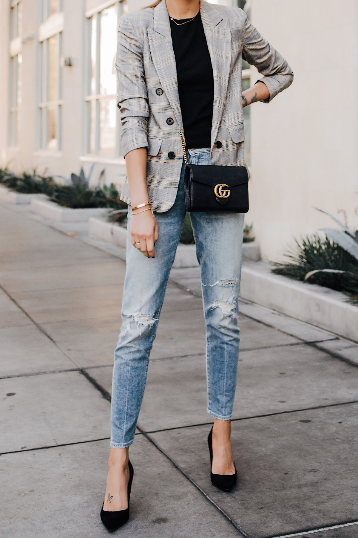 Woman Wearing Plaid Blazer Mother Ripped Denim Jeans Black Pumps Gucci Black Handbag Fashion Jackson San Diego Fashion Blogger Street Style