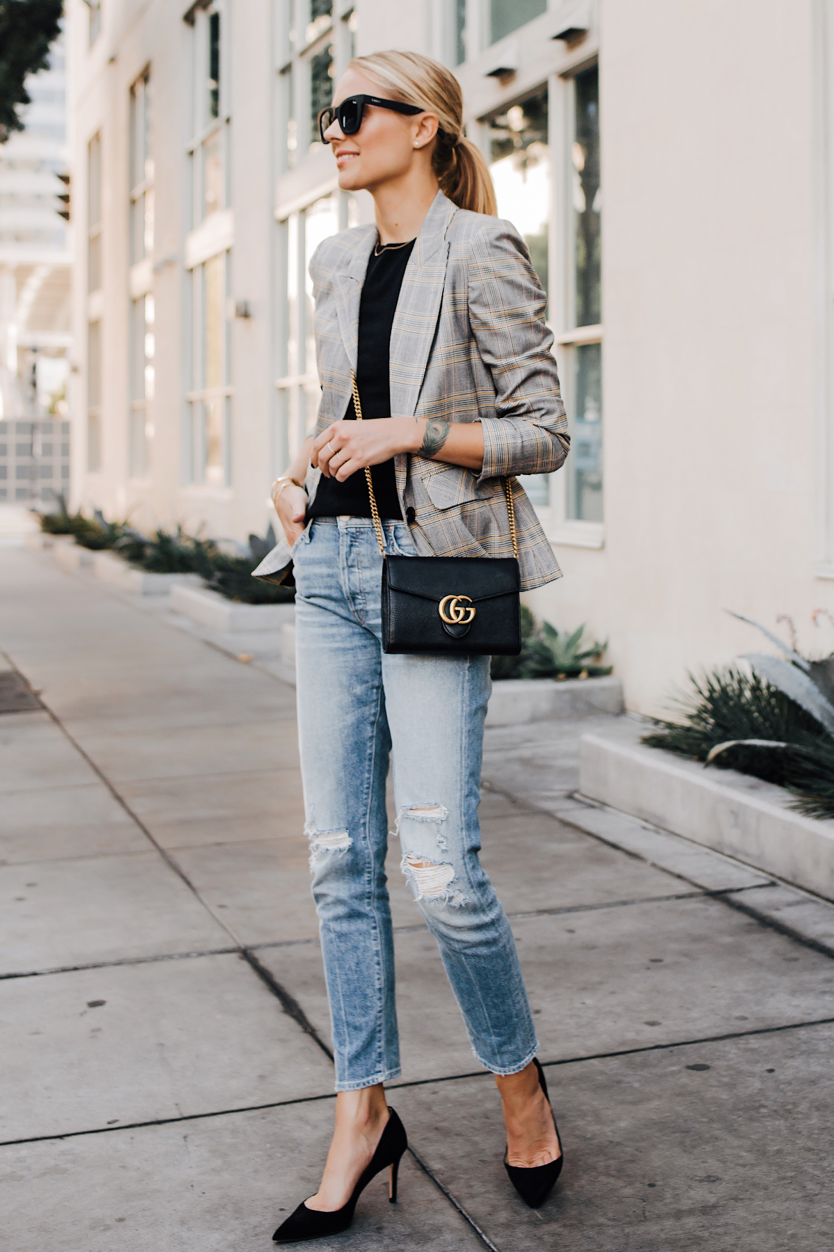 Blonde Woman Wearting Plaid Blazer Mother Ripped Denim Jeans Black Pumps Gucci Black Handbag Fashion Jackson San Diego Fashion Blogger Street Style