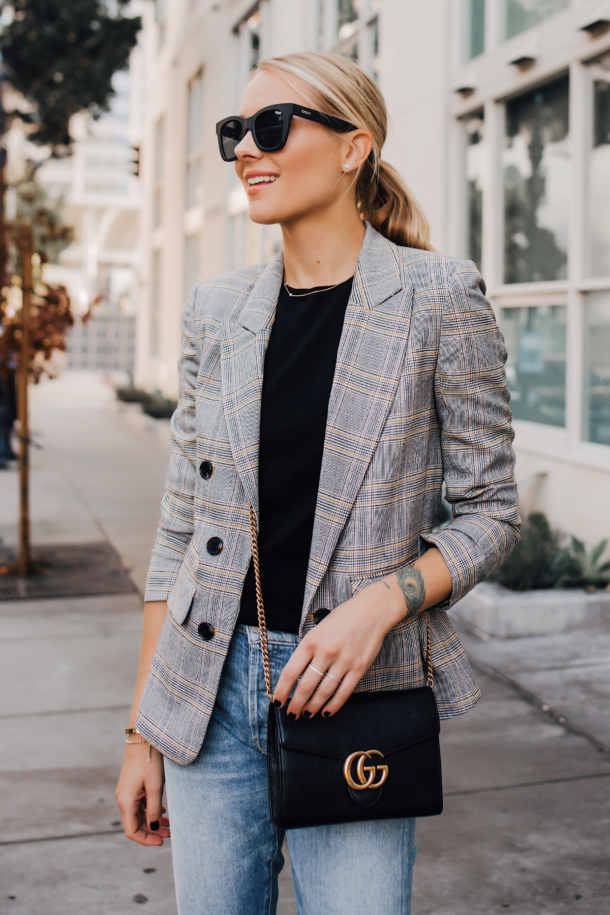 Blonde Woman Wearing Plaid Blazer Mother Ripped Denim Jeans Gucci Black Handbag Fashion Jackson San Diego Fashion Blogger Street Style