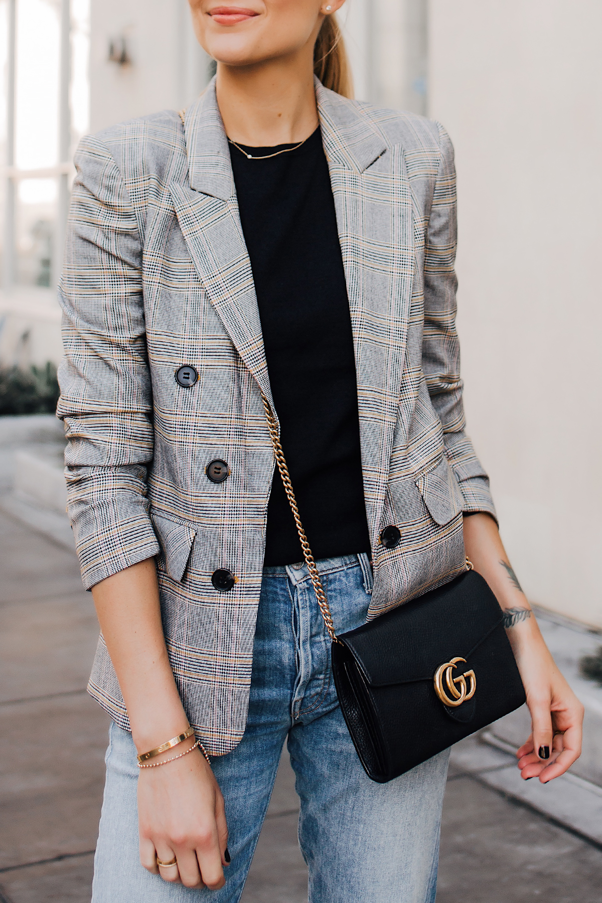 Woman Wearing Plaid Blazer Outfit Jeans Gucci Black Handbag Fashion Jackson San Diego Fashion Blogger Street Style