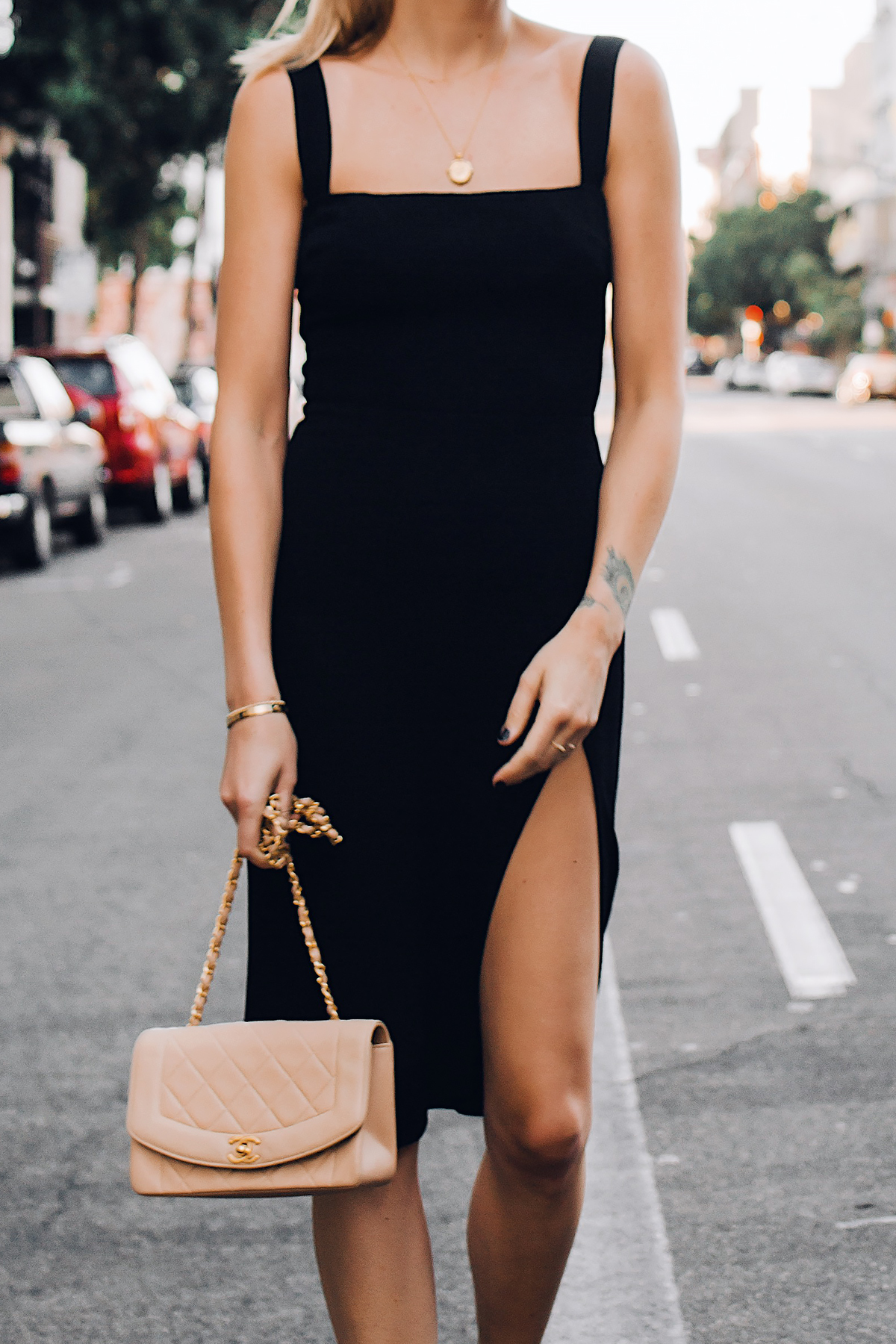 79c3ed30225 Woman Wearing Reformation Black Dress Chanel Tan Diana Handbag Gold Coin  Necklace Fashion Jackson San Diego