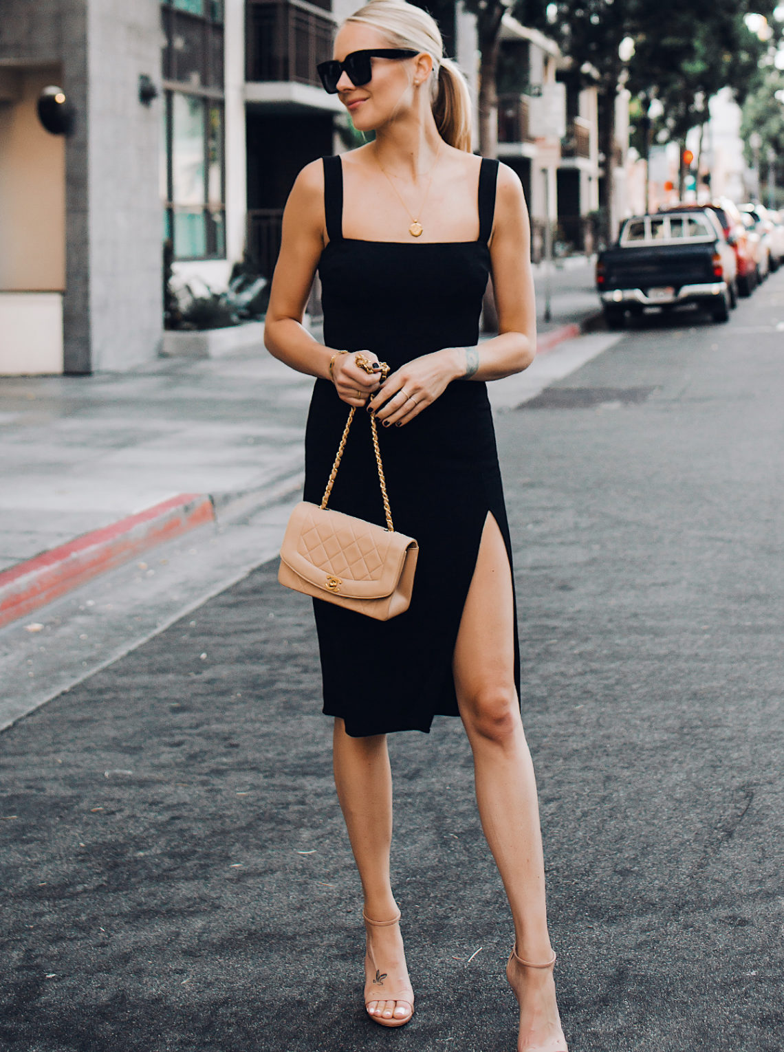 Blonde Woman Wearing Reformation Black Dress Tan Ankle Strap Heeled Sandals Chanel Tan Diana Handbag Gold Coin Necklace Fashion Jackson San Diego Fashion Blogger Street Style
