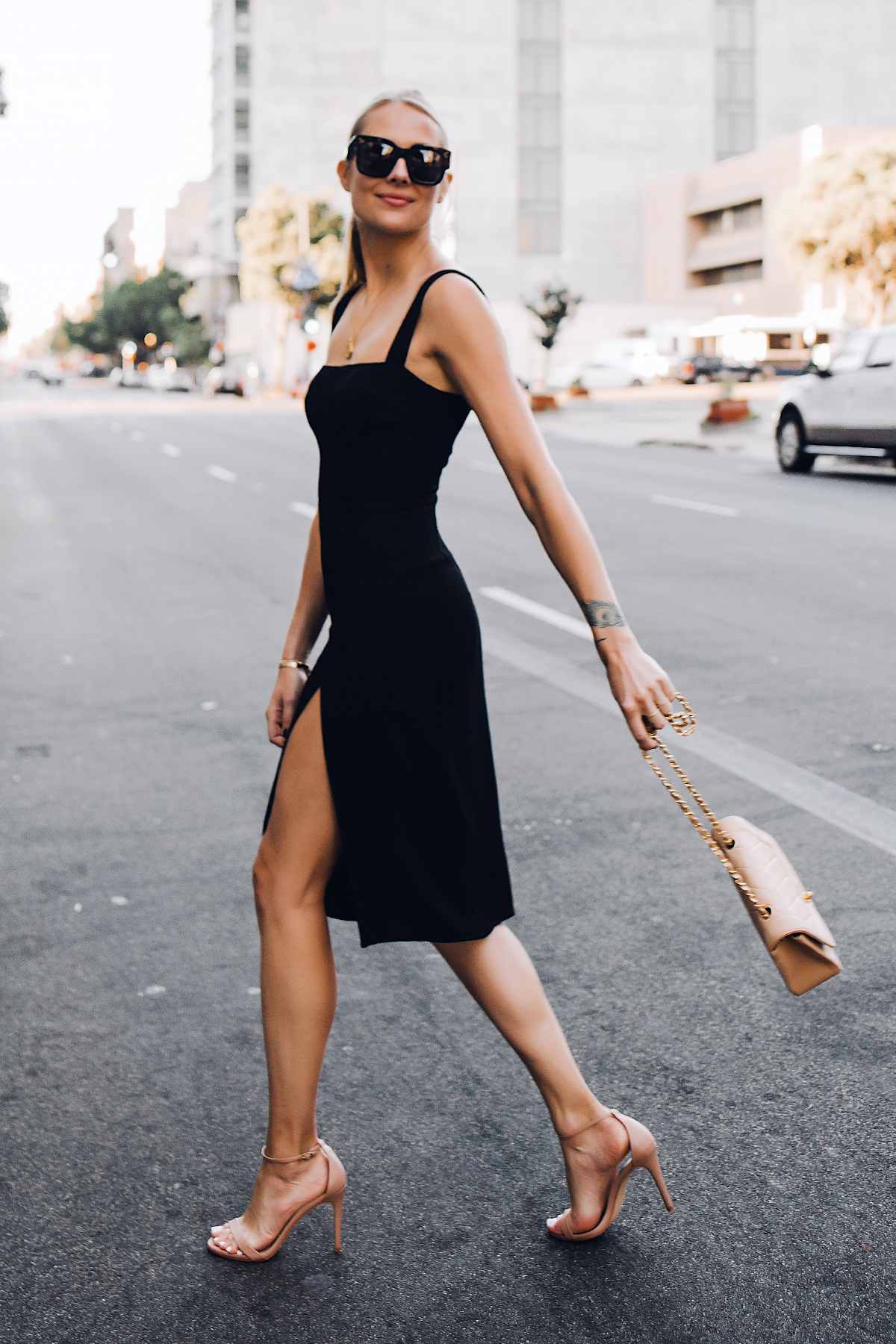 Blonde Woman Wearing Reformation Black Dress Tan Ankle Strap Heeled Sandals Chanel Tan Diana Handbag Fashion Jackson San Diego Fashion Blogger Street Style