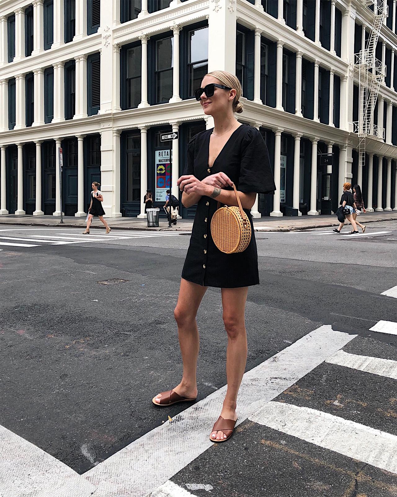 Fashion Jackson Topshop Black Button Front Dress Circle Basket Bag Tan Sandals NYC