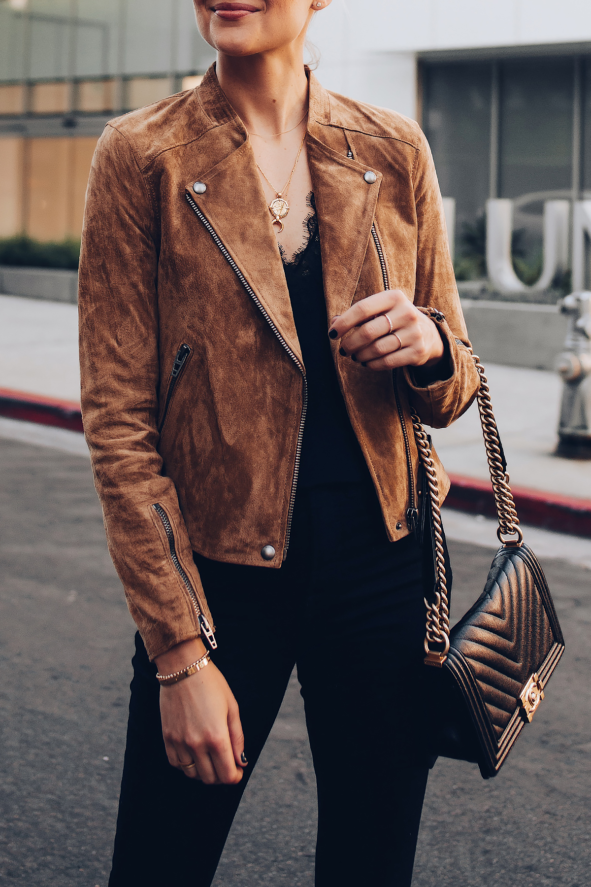Woman Wearing Blanknyc Tan Suede Moto Jacket Black Lace Cami Black Skinny Jeans Outfit Fashion Jackson San Diego Fashion Blogger Street Style