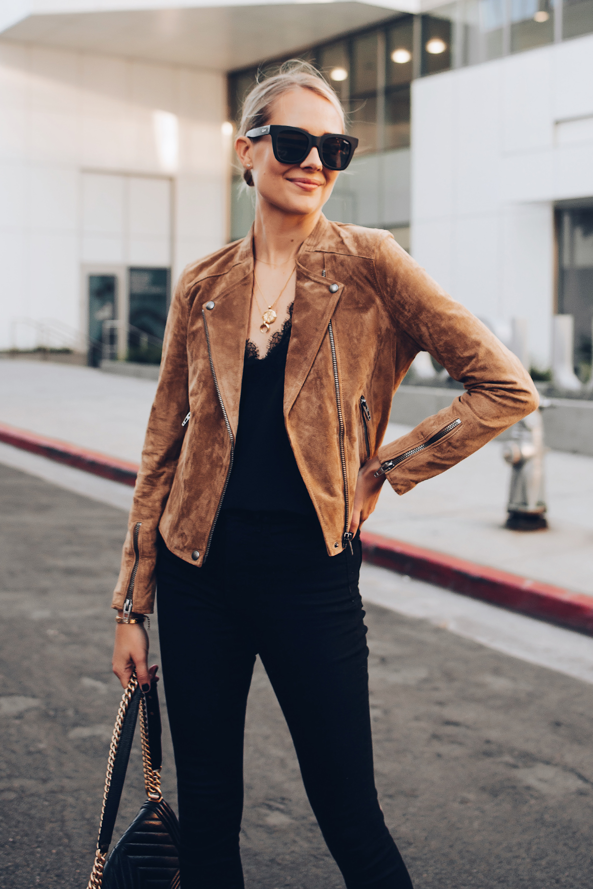 Blonde Woman Wearing Blanknyc Tan Suede Moto Jacket Black Lace Cami Black Skinny Jeans Outfit Fashion Jackson San Diego Fashion Blogger Street Style