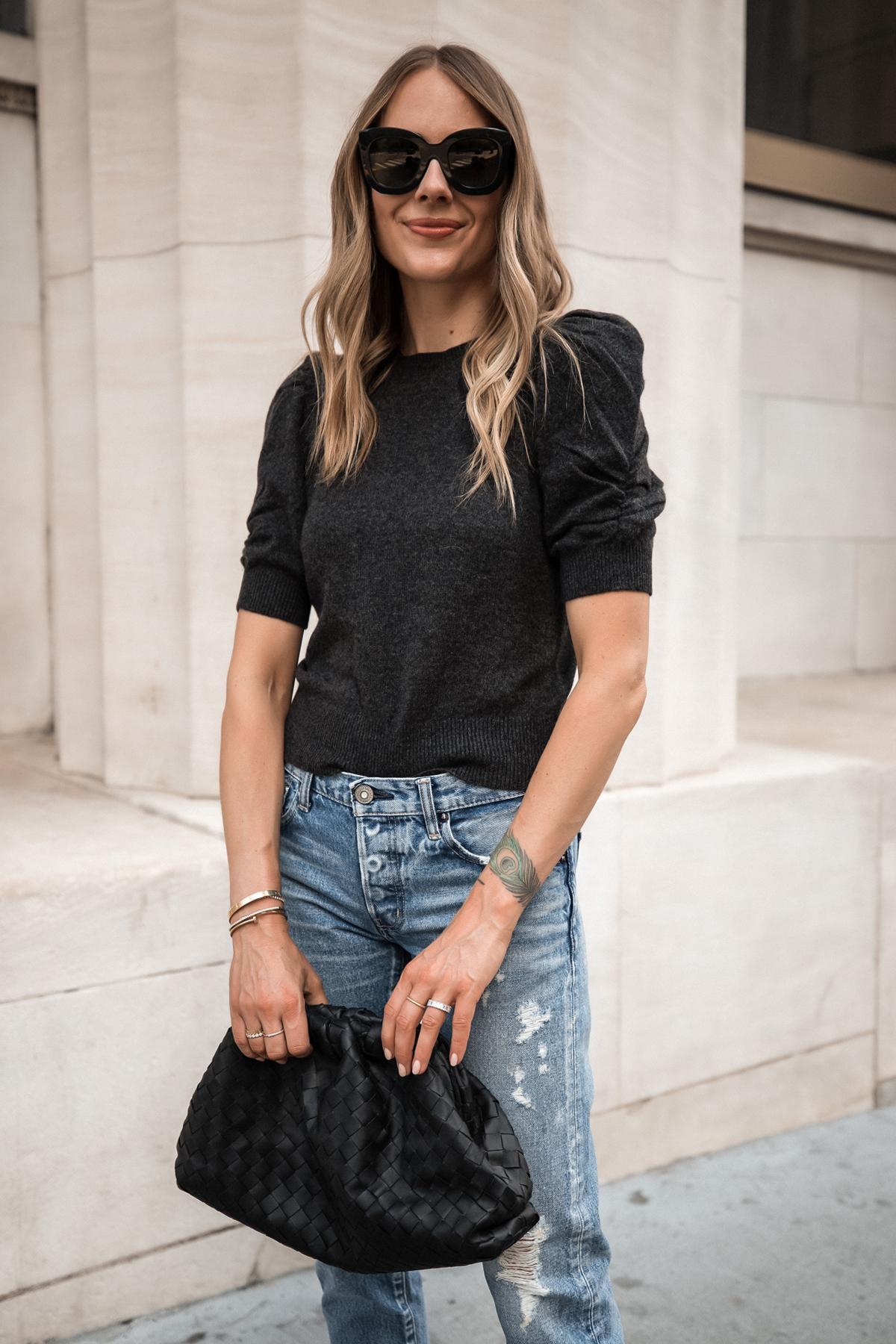 Fashion Jackson Wearing Frame Puff Sleeve Sweater Moussy Vintage Ripped Jeans Bottega Veneta The Pouch Black