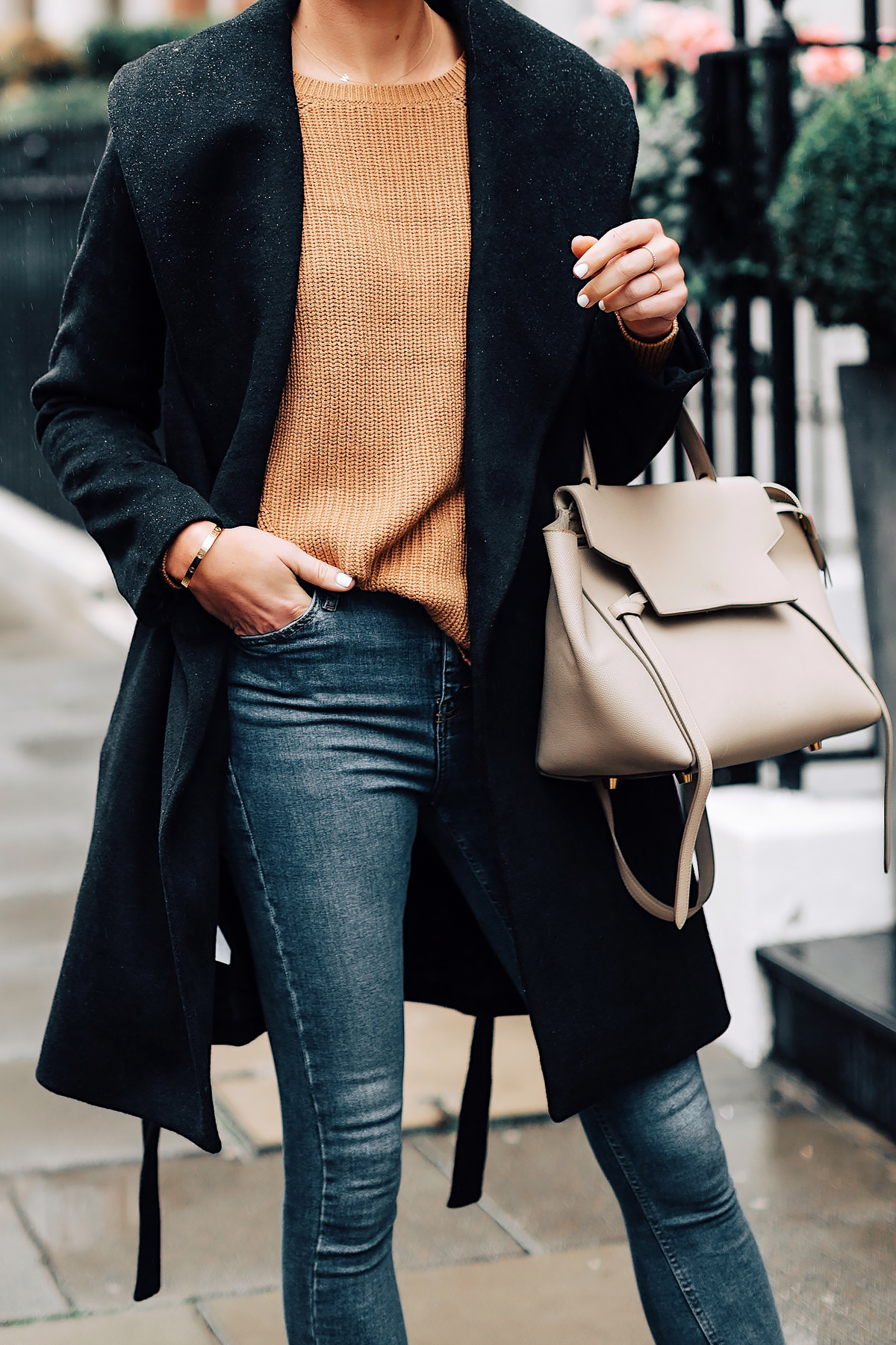 Woman Wearing Ann Taylor Black Wrap Coat Camel Sweater Denim Skinny Jeans Outfit Celine Mini Belt Bag Fashion Jackson San Diego Fashion Blogger London Street Style