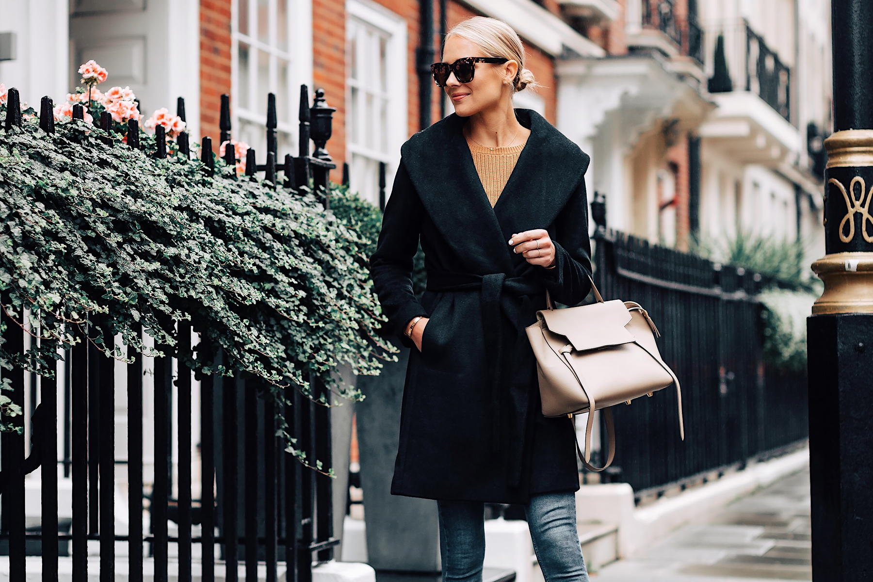 Blonde Woman Wearing Ann Taylor Black Wrap Coat Camel Sweater Outfit Celine Mini Belt Bag Fashion Jackson San Diego Fashion Blogger London Street Style