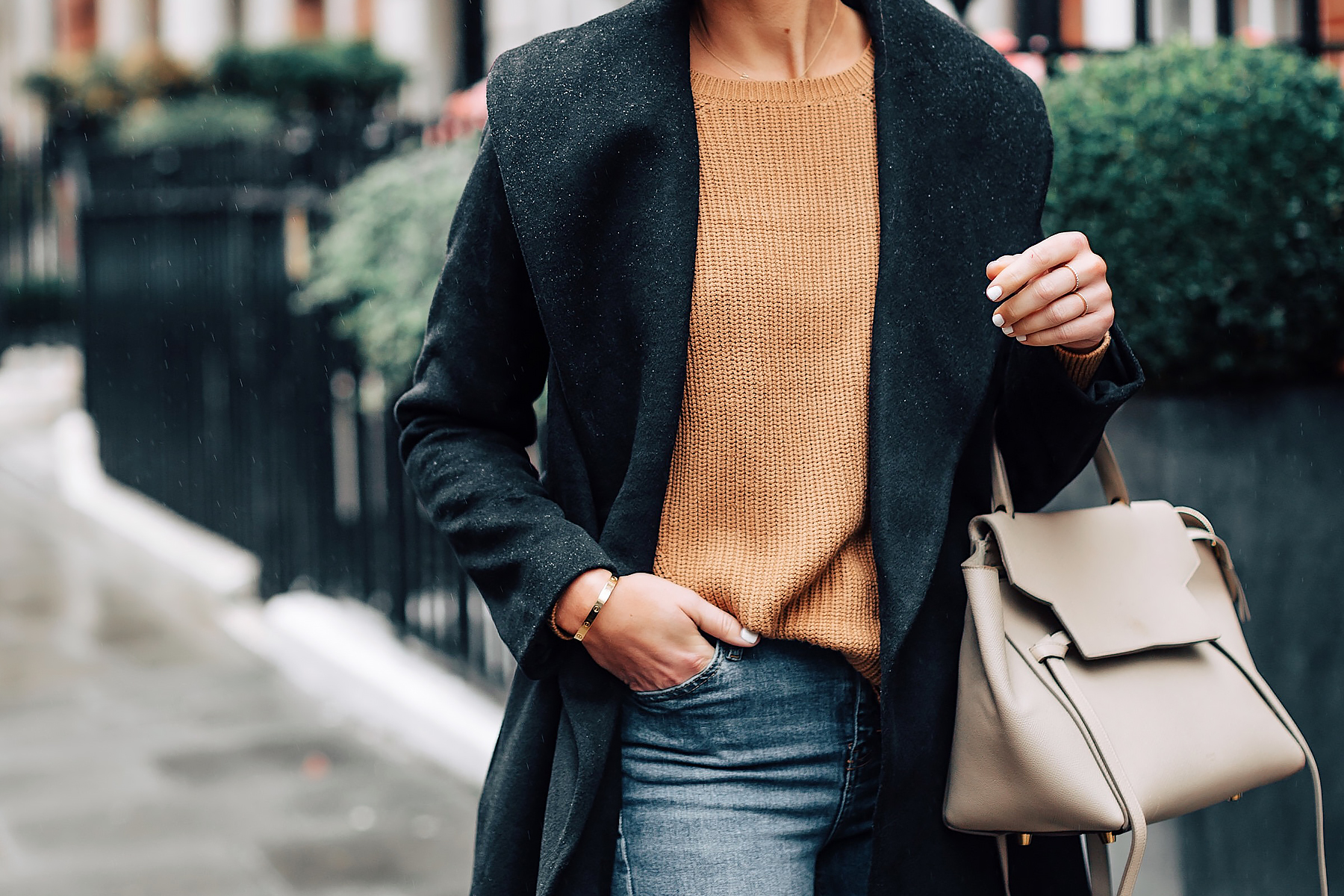 Woman Wearing Ann Taylor Black Wrap Coat Camel Sweater Outfit Celine Mini Belt Bag Fashion Jackson San Diego Fashion Blogger London Street Style