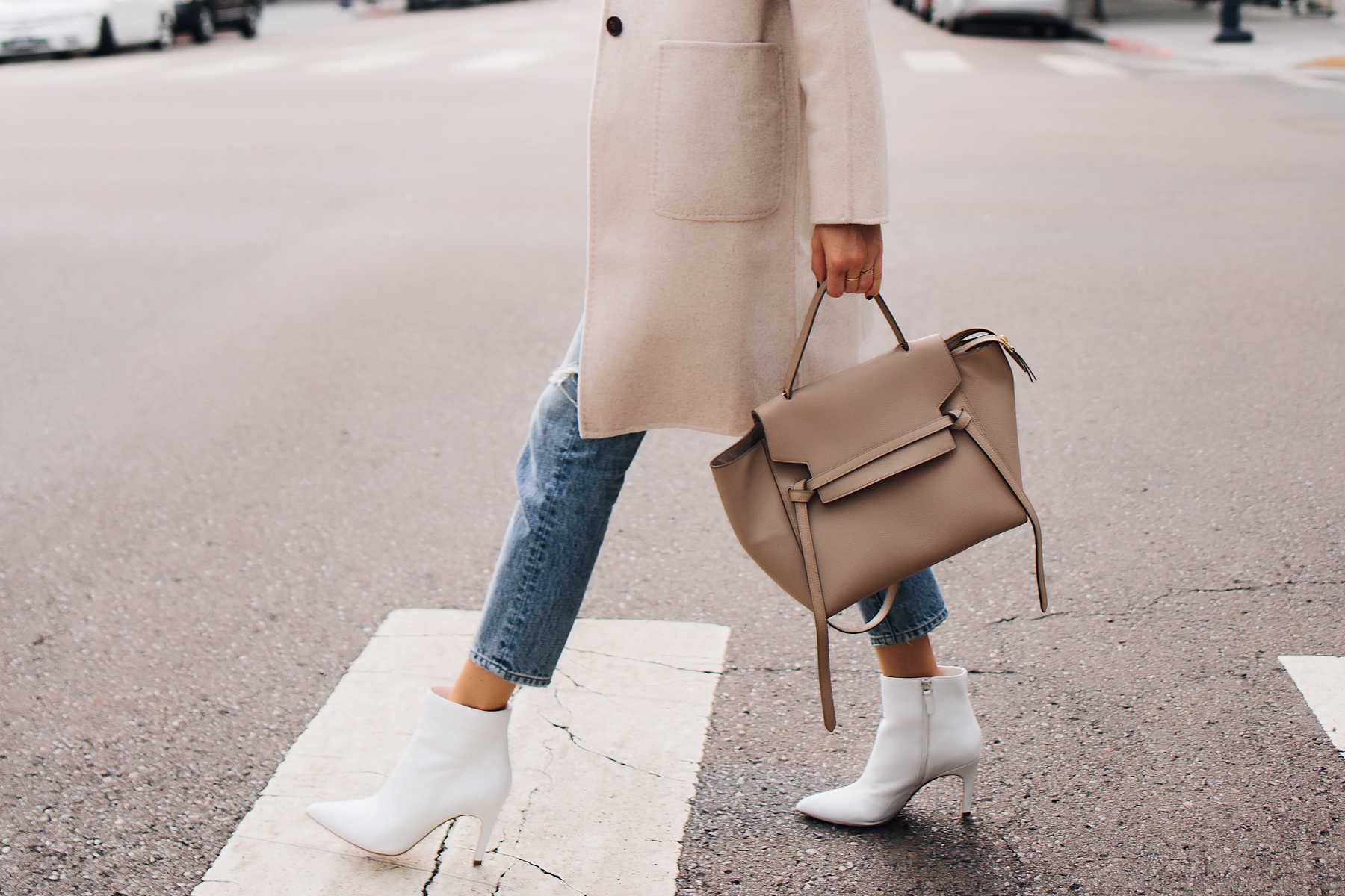 Woman Wearing Beige Wool Coat Ankle Jeans White Heeled Ankle Booties Outfit Celine Mini Belt Bag Taupe Fashion Jackson San Diego Fashion Blogger Street Style