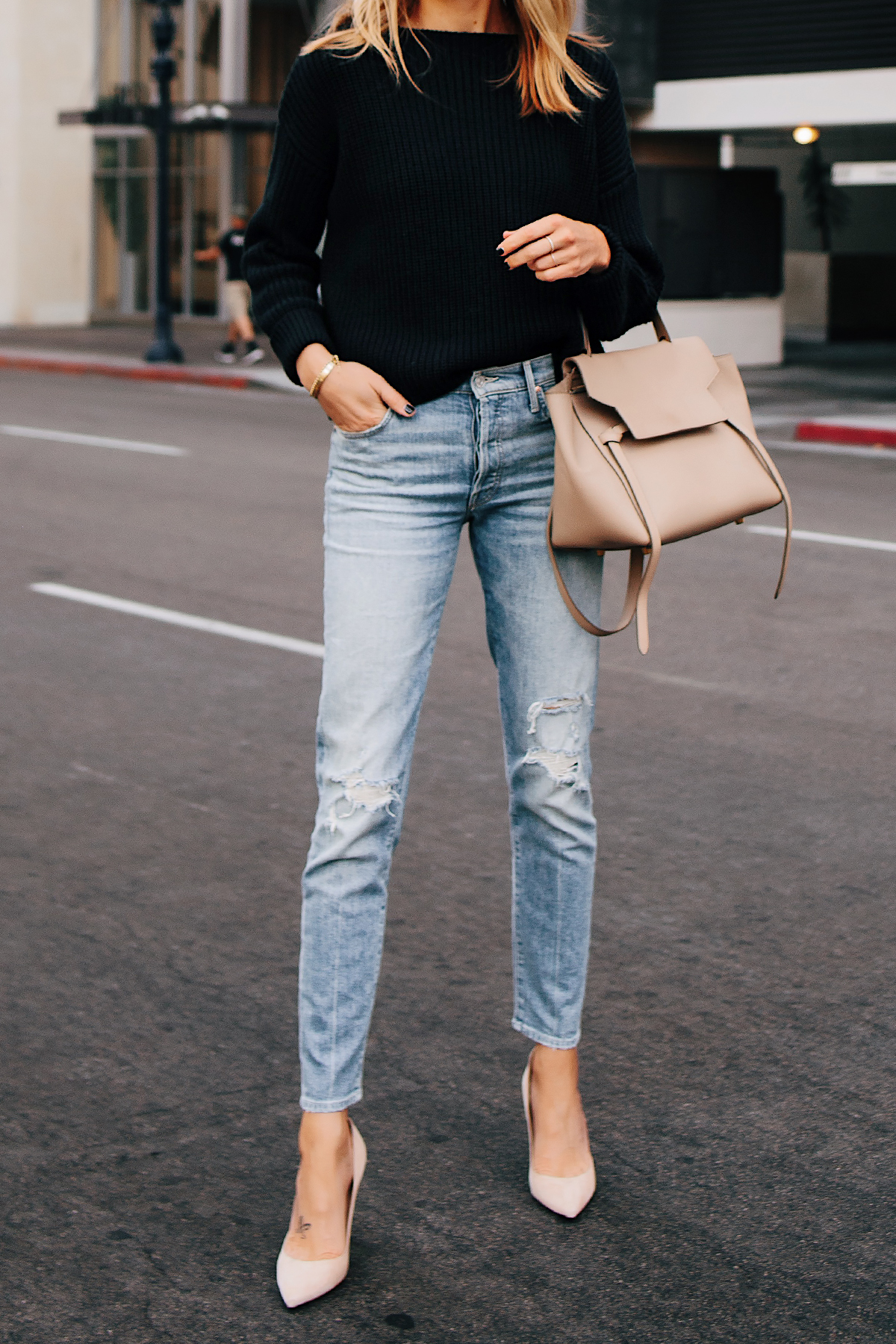 Woman Wearing Black Chunky Sweater Mother Denim Ripped Jeans Nude Pumps Celine Mini Belt Bag Taupe Fashion Jackson San Diego Fashion Blogger Street Style