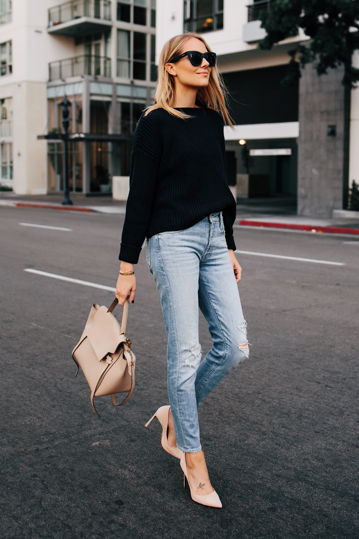 Blonde Woman Wearing Black Chunky Sweater Mother Denim Ripped Jeans Nude Pumps Celine Mini Belt Bag Taupe Fashion Jackson San Diego Fashion Blogger Street Style