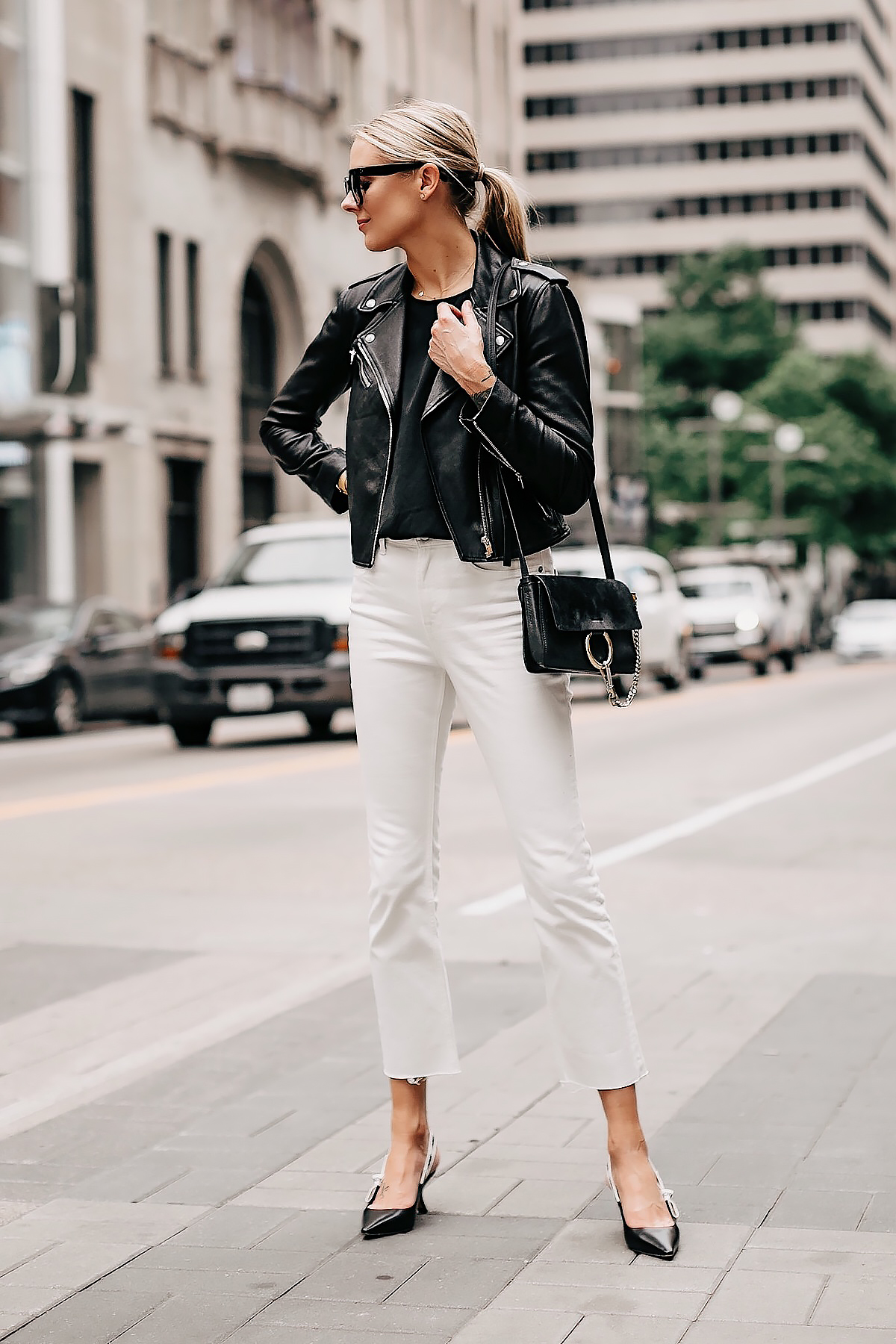 Blonde Woman Wearing Black Leather Jacket Black Top White Cropped Jeans Dior Slingback Heels Chloe Faye Black Handbag Fashion Jackson San Diego Fashion Blogger Street Style