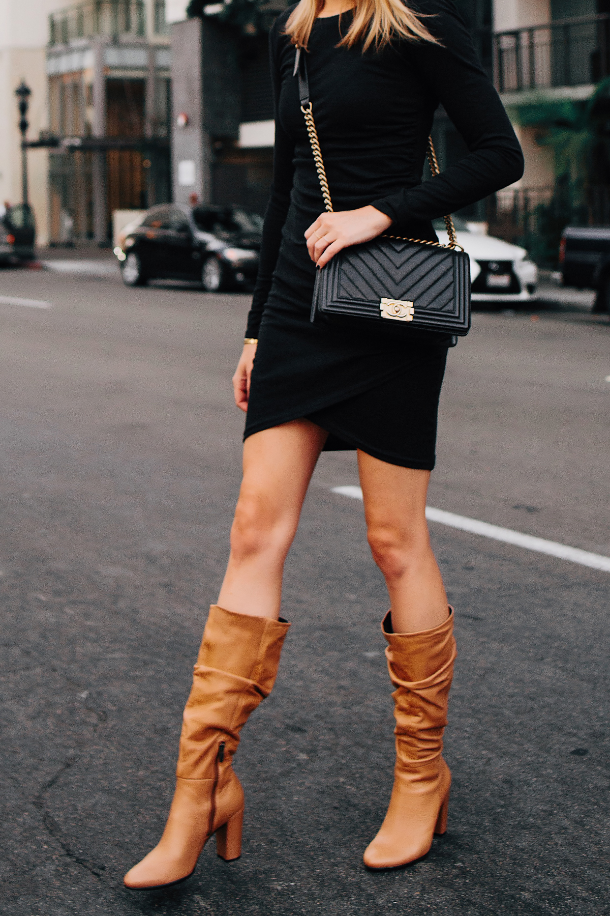 Woman Wearing Black Long Sleeve Bodycon Dress Ecco Tan Leather Heeled Boots Chanel Black Boy Bag Fashion Jackson San Diego Fashion Blogger Street Style