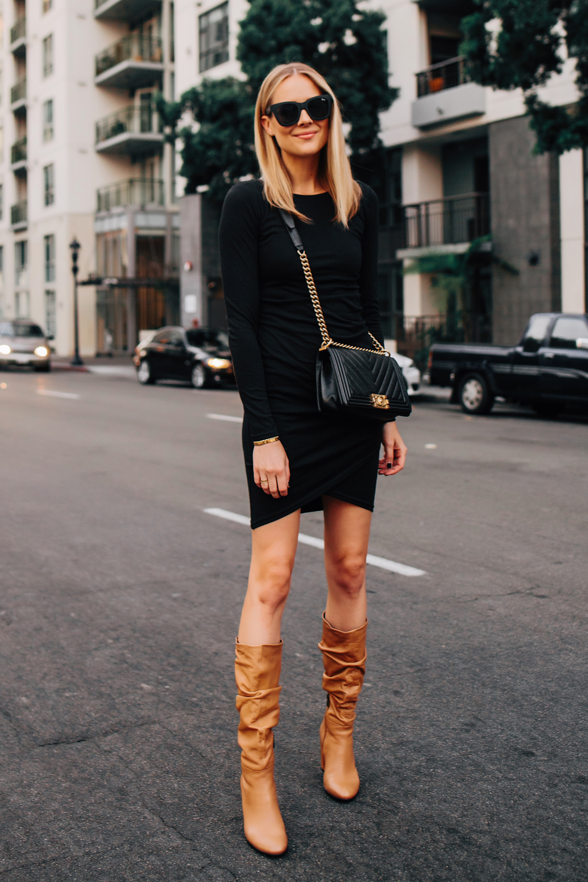 Blonde Woman Wearing Black Long Sleeve Bodycon Dress Ecco Tan Leather Heeled Boots Chanel Black Boy Bag Fashion Jackson San Diego Fashion Blogger Street Sytle