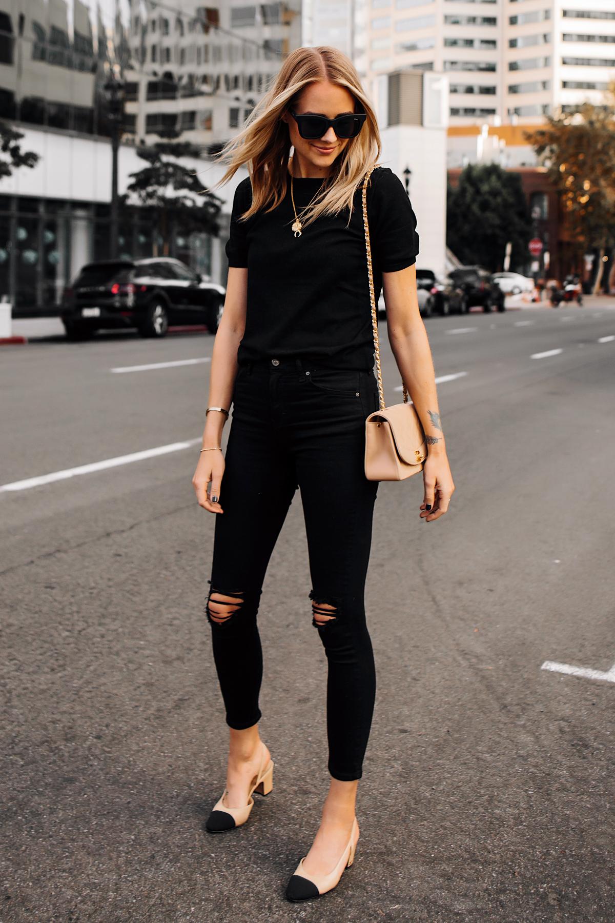 Blonde Woman Wearing Black Short Sleeve Top Black Ripped Skinny Jeans Chanel Diana Tan Handbag Chanel Slingback Shoes Fashion Jackson San Diego Fashion Blogger Street Style