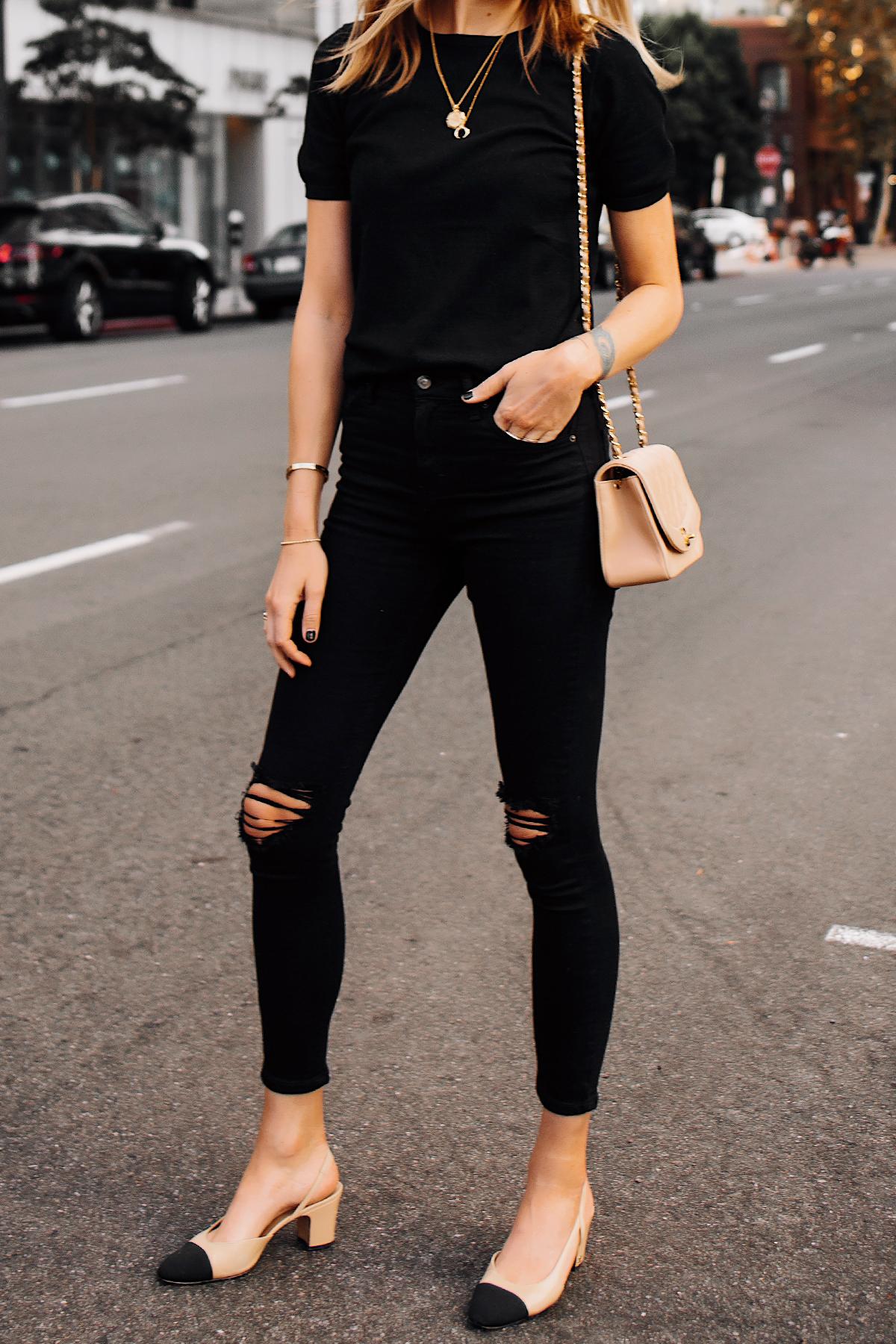 Woman Wearing Black Short Sleeve Top Black Ripped Skinny Jeans Chanel Diana Tan Handbag Chanel Slingback Shoes Fashion Jackson San Diego Fashion Blogger Street Style