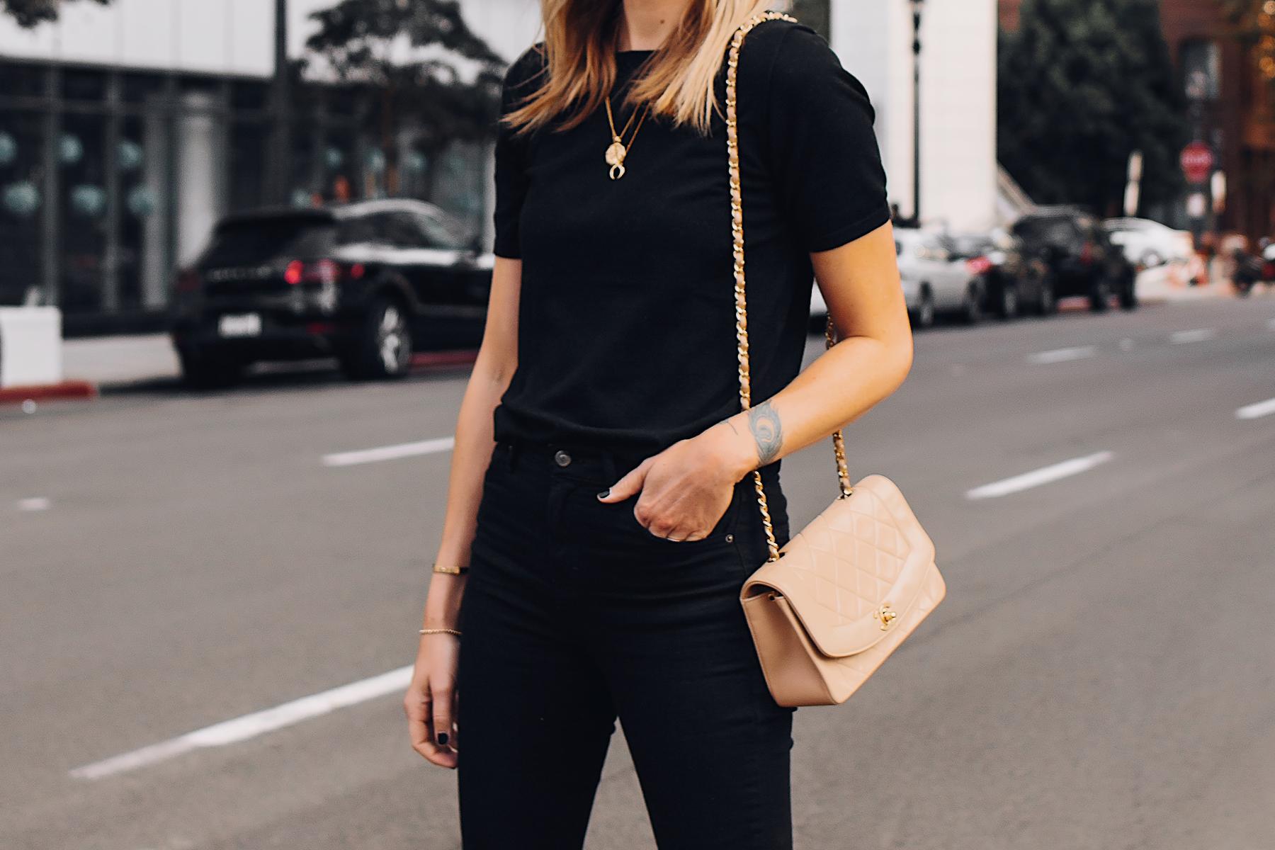 Woman Wearing Black Short Sleeve Top Black Ripped Skinny Jeans Chanel Diana Tan Handbag Gold Missoma Necklaces Fashion Jackson San Diego Fashion Blogger Street Style