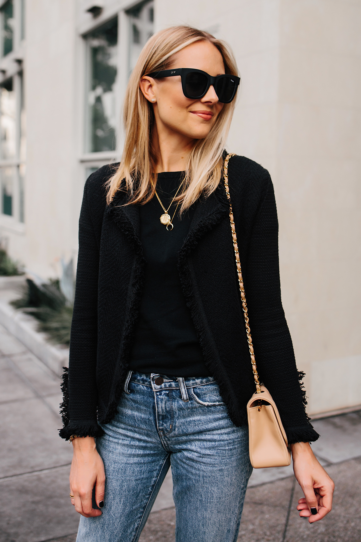 Fashion Jackson Black Tweed Jacket Jeans Outfit Fashion Jackson San Diego Fashion Blogger Street Style