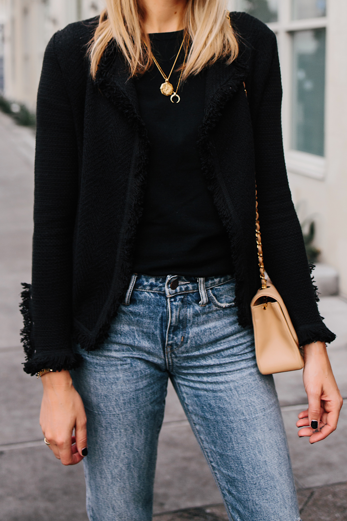Woman Wearing Black Tweed Jacket Jeans Outfit Fashion Jackson San Diego Fashion Blogger Street Style