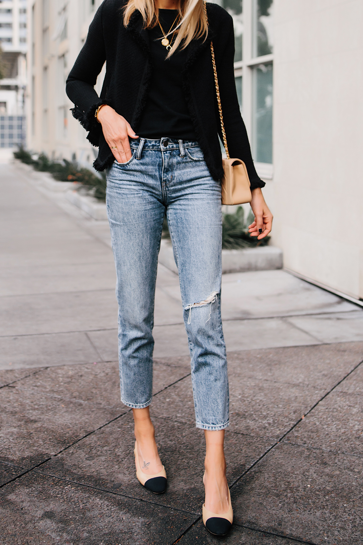 Woman Wearing Black Tweed Relaxed Jacket Jeans Outfit Chanel Tan Diana Handbag Chanel Slingback Shoes Fashion Jackson San Diego Fashion Blogger Street Style