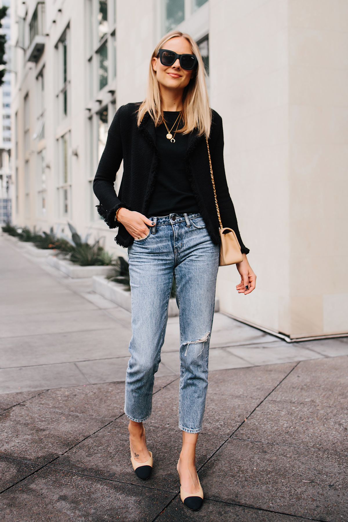 Blonde Woman Wearing Black Tweed Relaxed Jacket Jeans Outfit Chanel Tan Diana Handbag Chanel Slingback Shoes Fashion Jackson San Diego Fashion Blogger Street Style