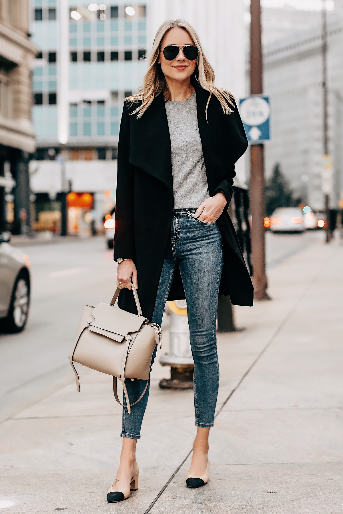Blonde Woman Wearing Black Wrap Coat Grey Sweater Denim Skinny Jeans Chanel Slingback Shoes Celine Mini Belt Bag Taupe Fashion Jackson San Diego Fashion Blogger Street Style