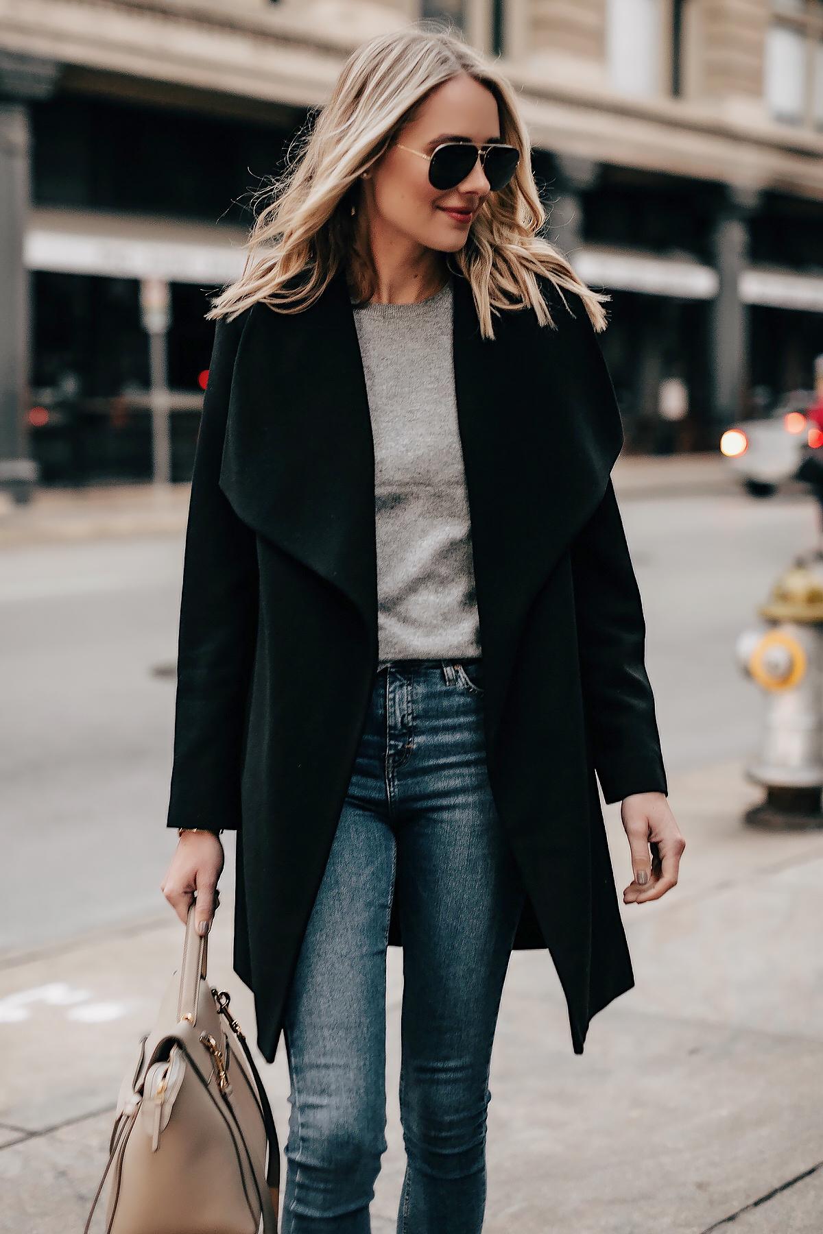 Blonde Woman Wearing Black Wrap Coat Grey Sweater Denim Skinny Jeans Fashion Jackson San Diego Fashion Blogger Street Style