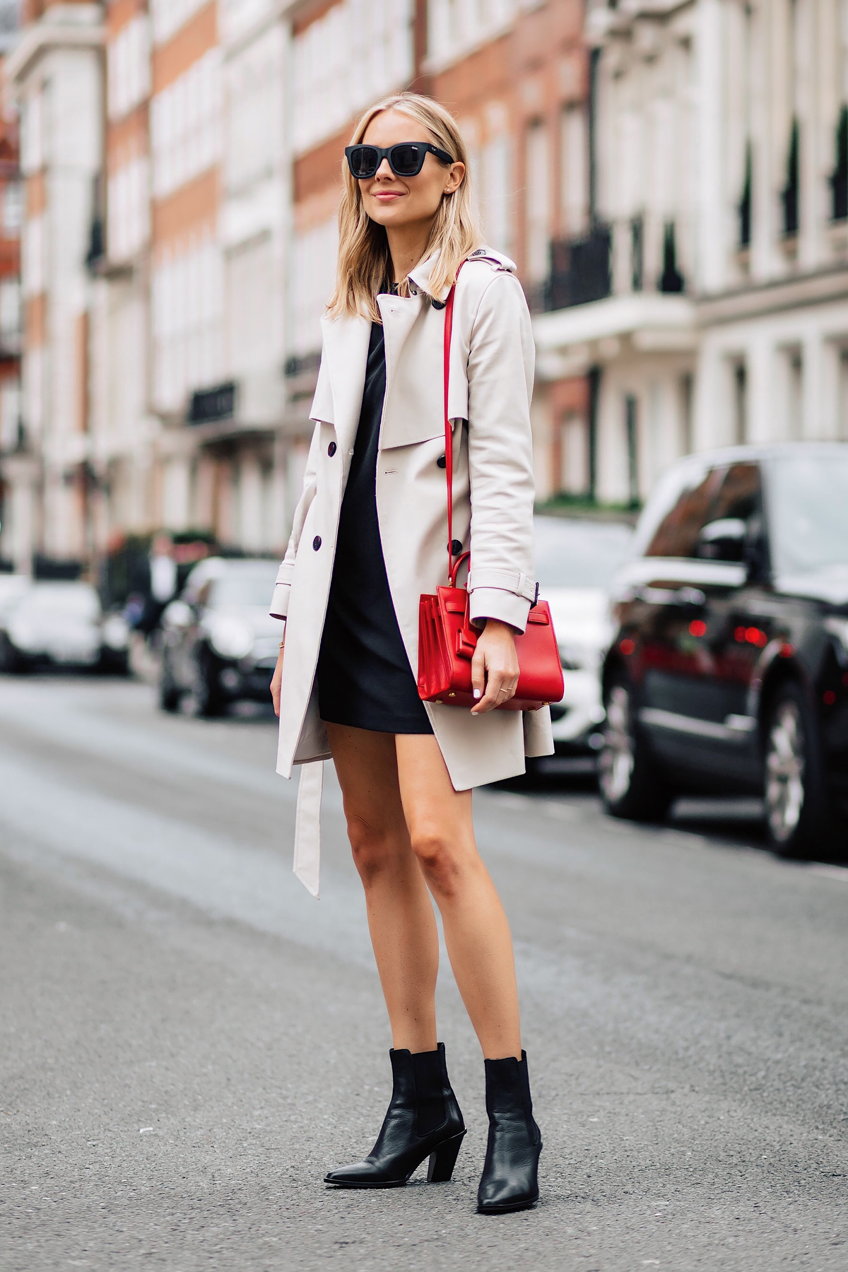 Blonde Woman Wearing Club Monaco Trench Coat Black Dress Black Booties Outfit Red YSL Sac De Jour Handbag Fashion Jackson San Diego Fashion Blogger London Street Style