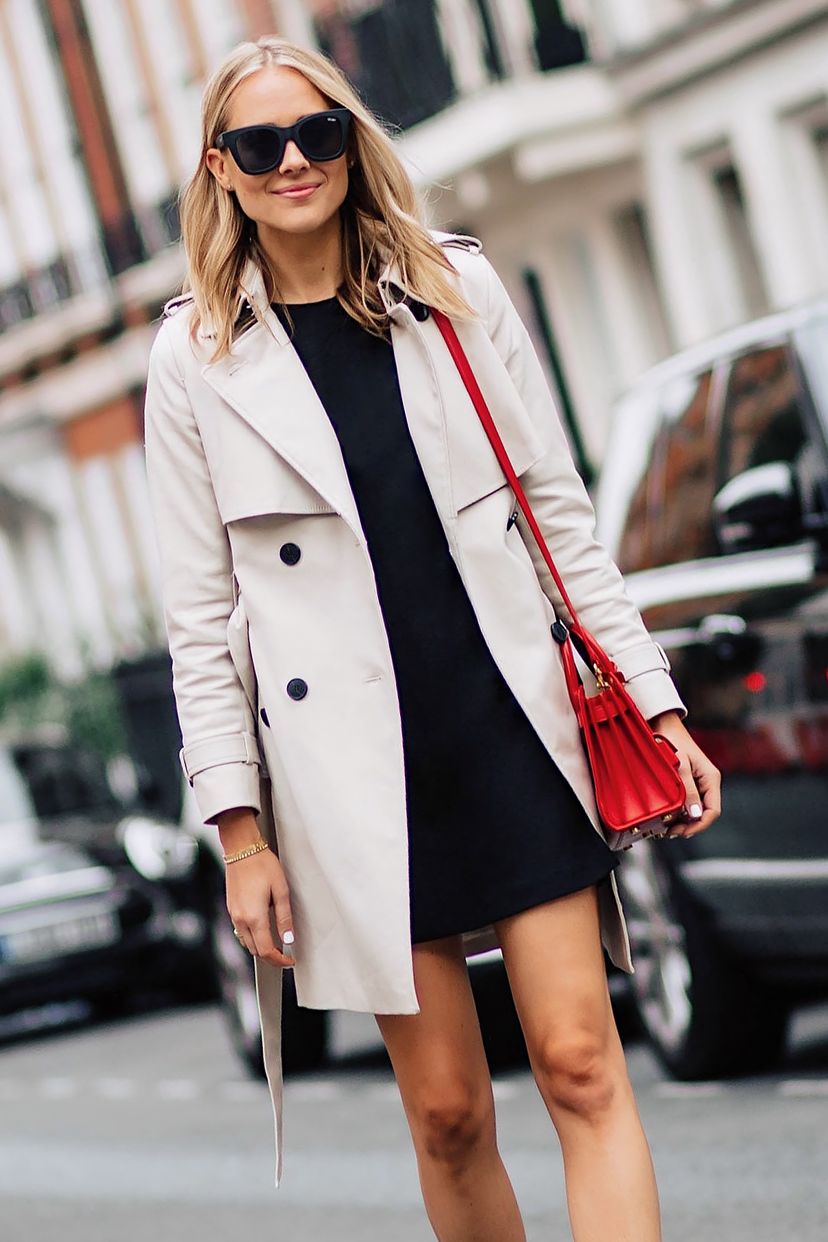 Blonde Woman Wearing Club Monaco Trench Coat Black Dress Outfit Red Handbag Fashion Jackson San Diego Fashion Blogger London Street Style