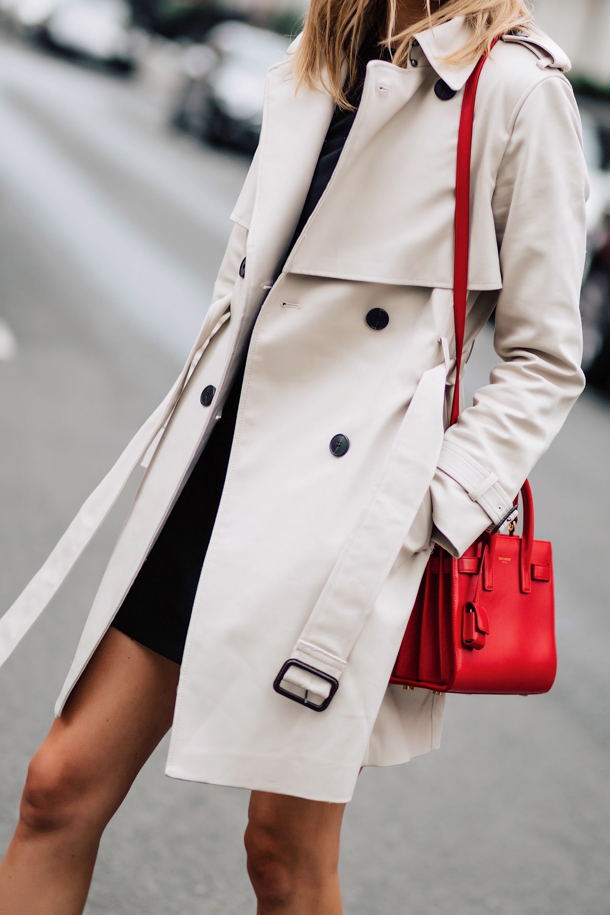 Woman Wearing Club Monaco Trench Coat Black Dress Outfit Red YSL Sac De Jour Handbag Fashion Jackson San Diego Fashion Blogger London Street Style
