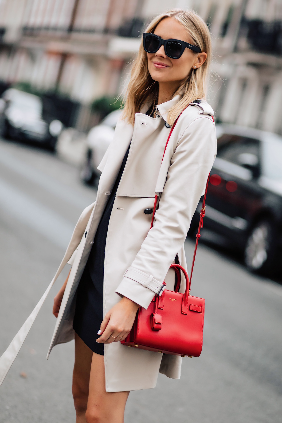 Blonde Woman Wearing Club Monaco Trench Coat Black Dress Outfit Red YSL Sac De Jour Handbag Fashion Jackson San Diego Fashion Blogger London Street Style