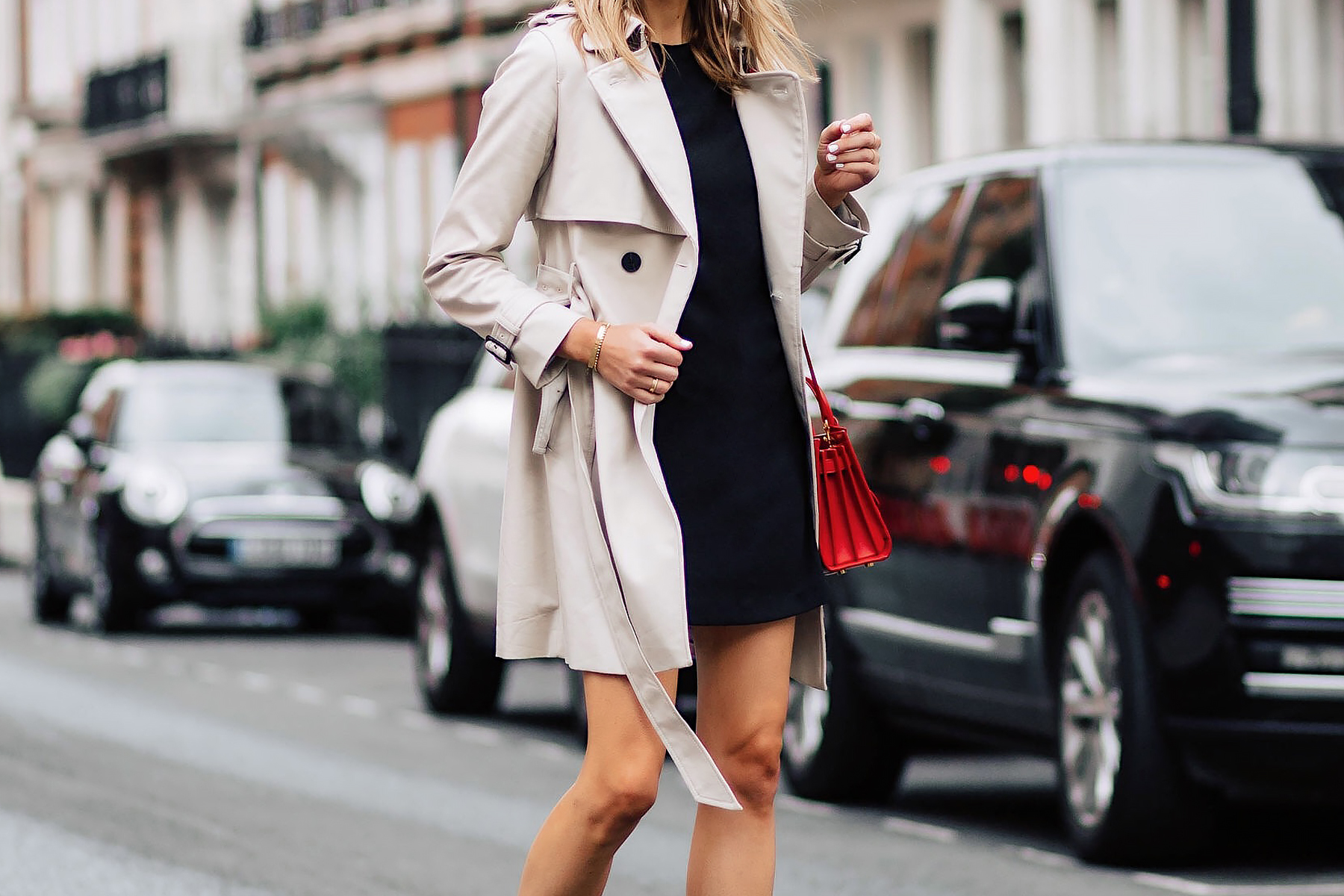 Woman Wearing Club Monaco Trench Coat Black Dress Outfit Fashion Jackson San Diego Fashion Blogger London Street Style