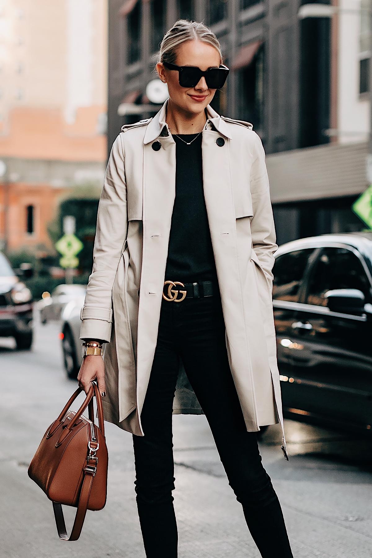 1de42dd6f8c Blonde Woman Wearing Club Monaco Trench Coat Black Sweater Black Skinny  Jeans Gucci Belt Givenchy Antigona