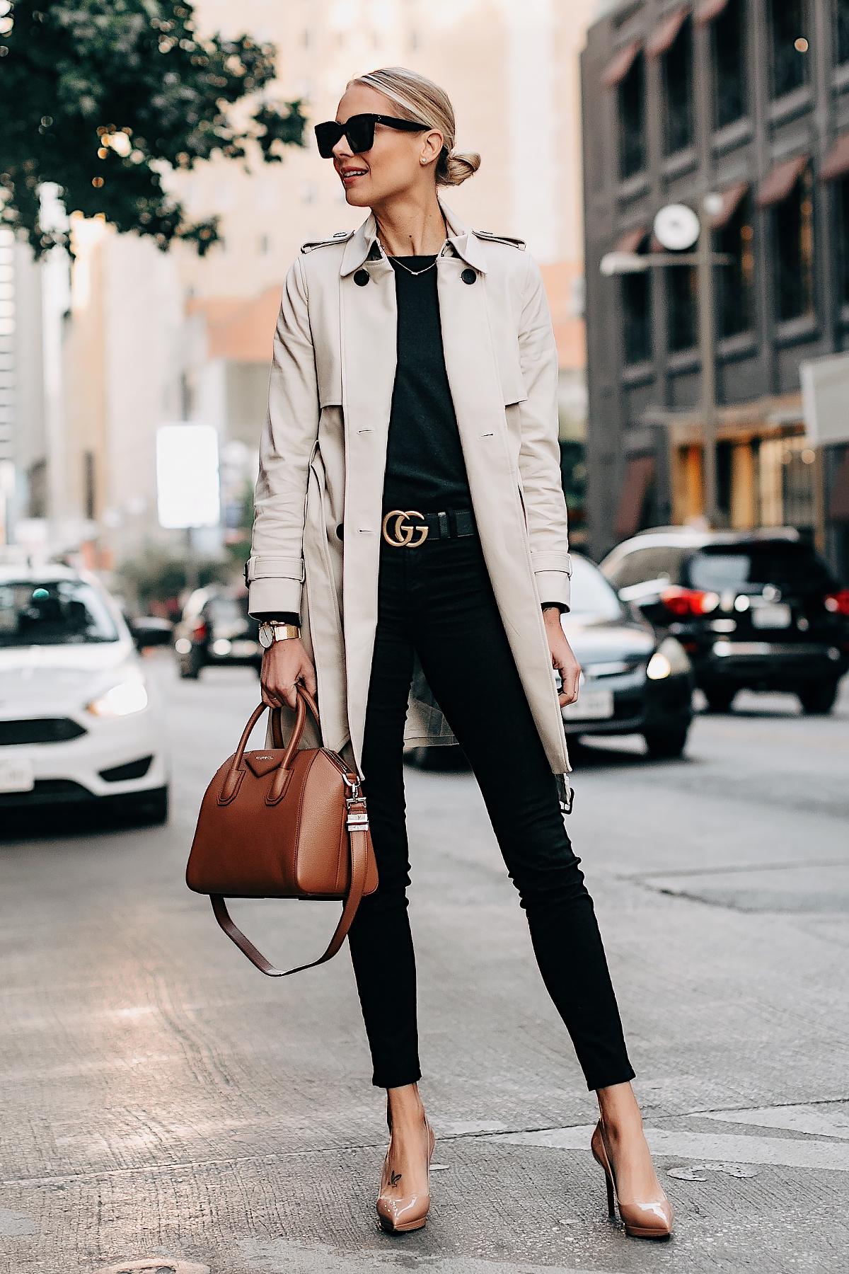 fe77400040e Blonde Woman Wearing Club Monaco Trench Coat Black Sweater Black Skinny  Jeans Gucci Belt Nude Pumps