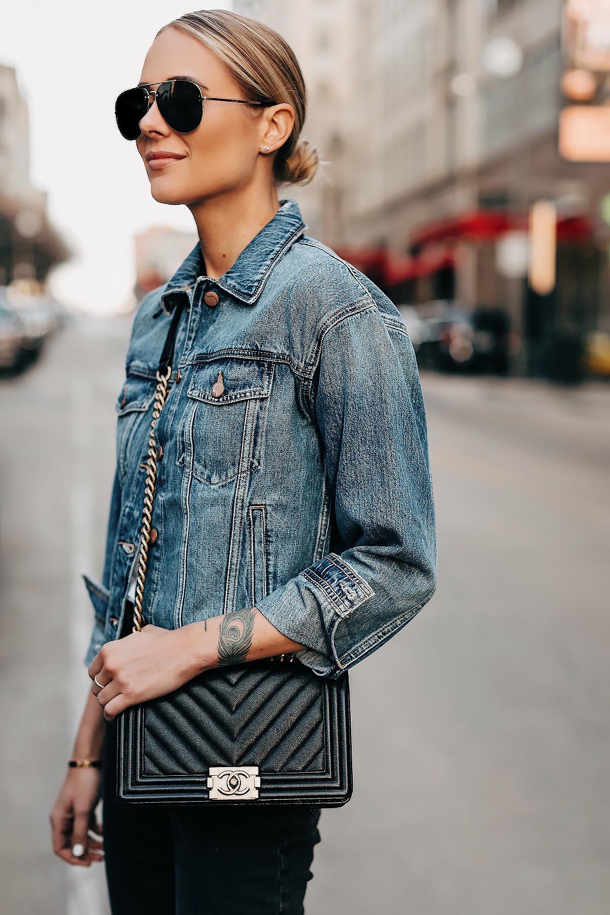 Blonde Woman Wearing Denim Jacket Black Jeans Chanel Black Boy Bag Fashion Jackson San Diego Fashion Blogger Street Style