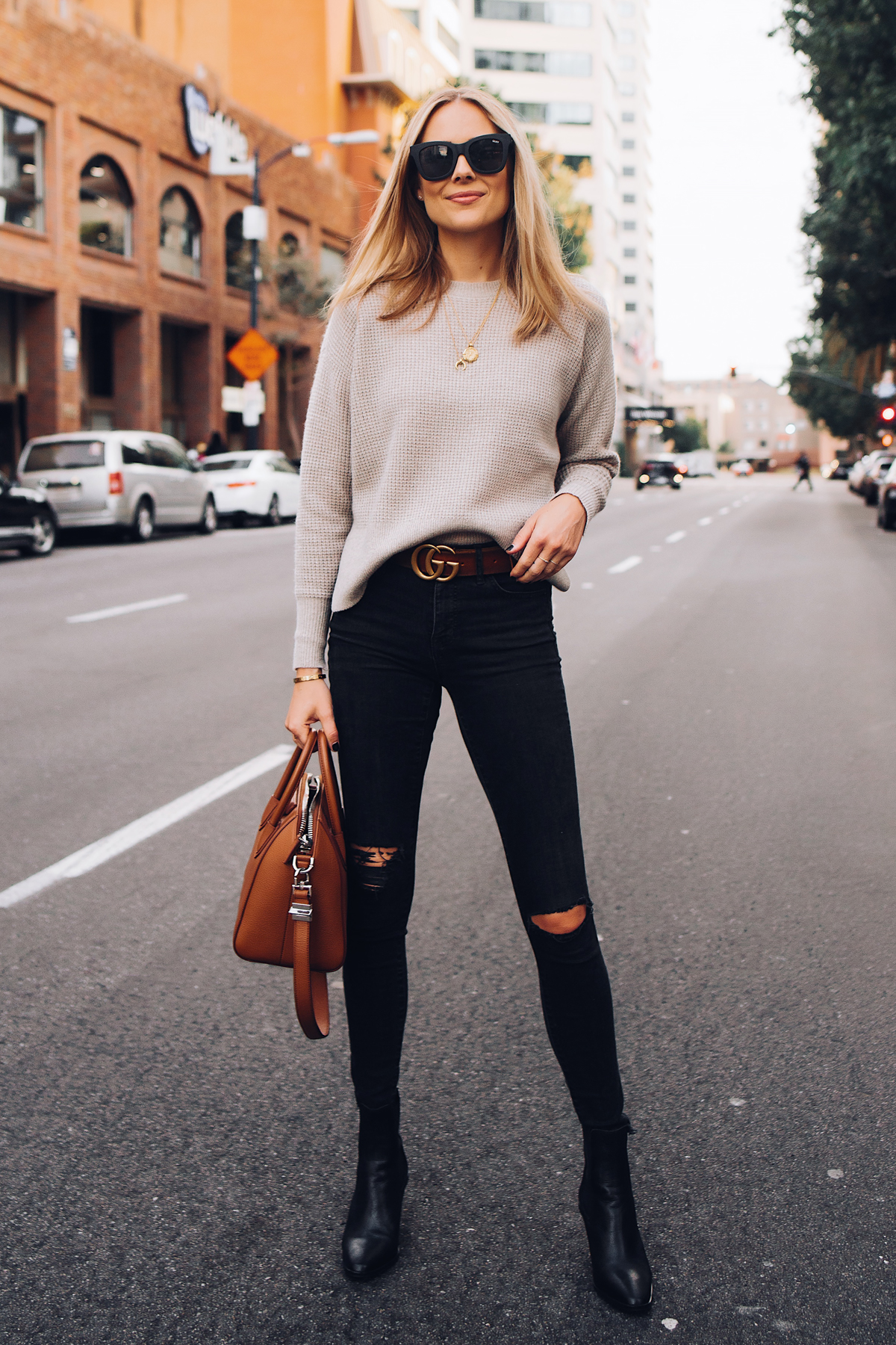 3deaa916a88 Blonde Woman Wearing Everlane Taupe Cashmere Sweater Black Ripped Skinny  Jeans Brown Gucci Logo Belt Black