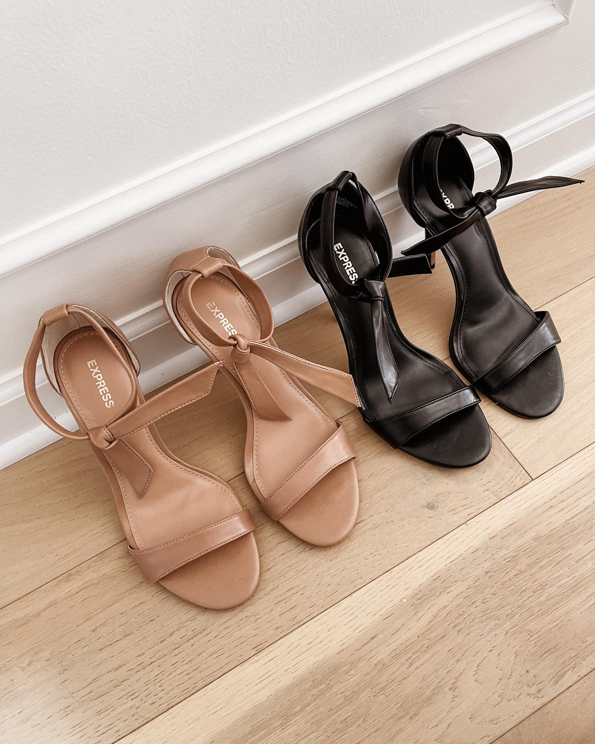 Fashion Jackson Express Tan Ankle Tie Heeld Sandals Black Ankle Tie Heeled Sandals