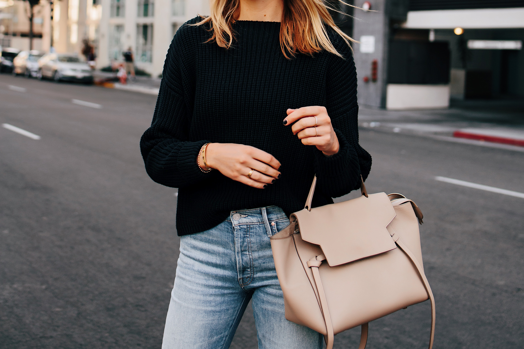 Woman Wearing French Connection Black Chunky Sweater Celine Mini Belt Bag Taupe Fashion Jackson San Diego Fashion Blogger Street Style