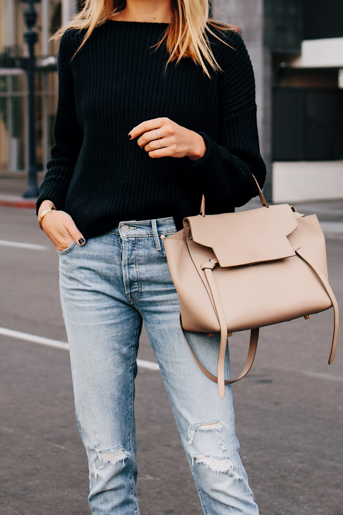 Woman Wearing French Connection Black Chunky Sweater Mother Ripped Jeans Celine Mini Belt Bag Taupe Fashion Jackson San Diego Fashion Blogger Street Style