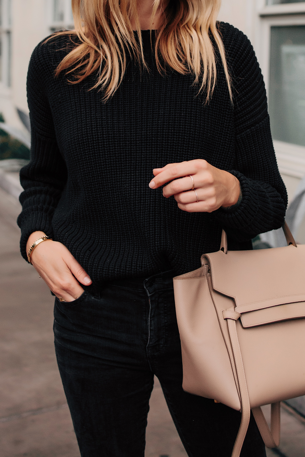 Blonde Woman Wearing French Connection Black Oversized Sweater Black Jeans Celine Mini Belt Bag Fashion Jackson San Diego Fashion Blogger Street Style