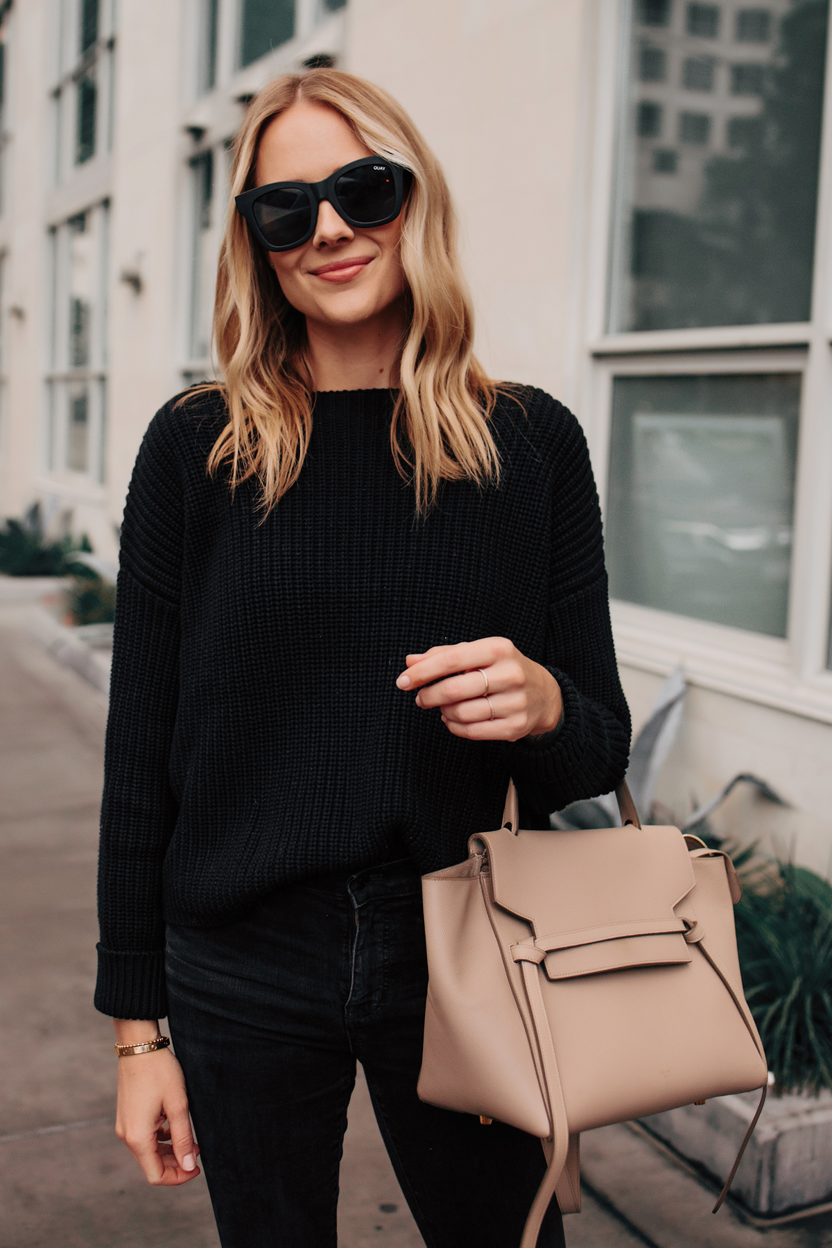 Blonde Woman Wearing French Connection Black Oversized Sweater Celine Mini Belt Bag Quay After Hours Black Sunglasses Fashion Jackson San Diego Fashion Blogger Street Style