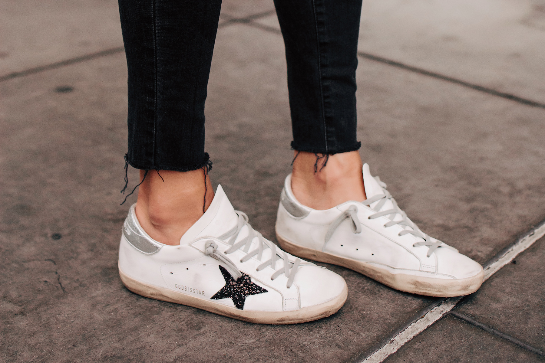 Woman Wearing Golden Goose Deluxe Brand Sneakers Fashion Jackson San Diego Fashion Blogger Street Style
