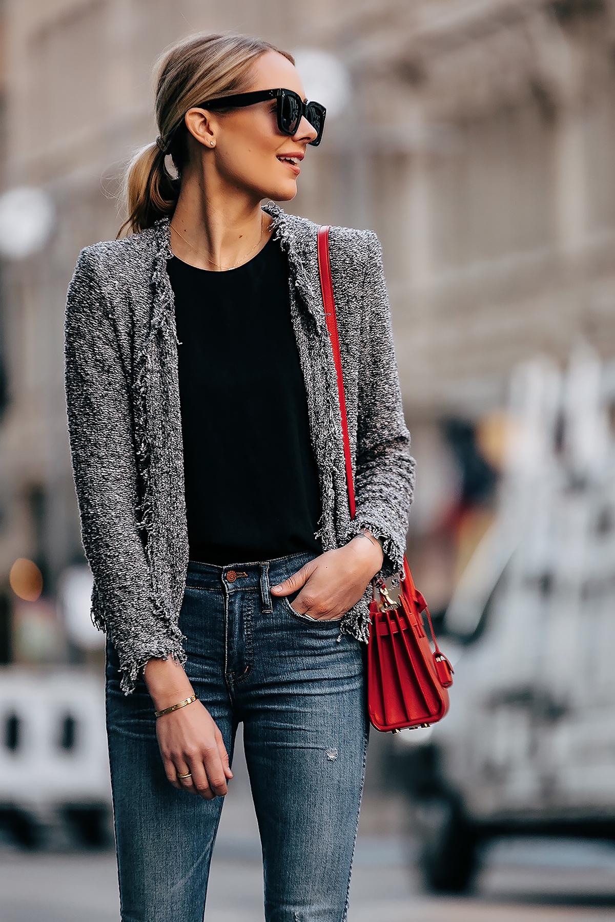 Blonde Woman Wearing IRO Grey Tweed Jacket Black Top Denim Jeans Red YSL Sac De Jour Nano Fashion Jackson San Diego Fashion Blogger Street Style