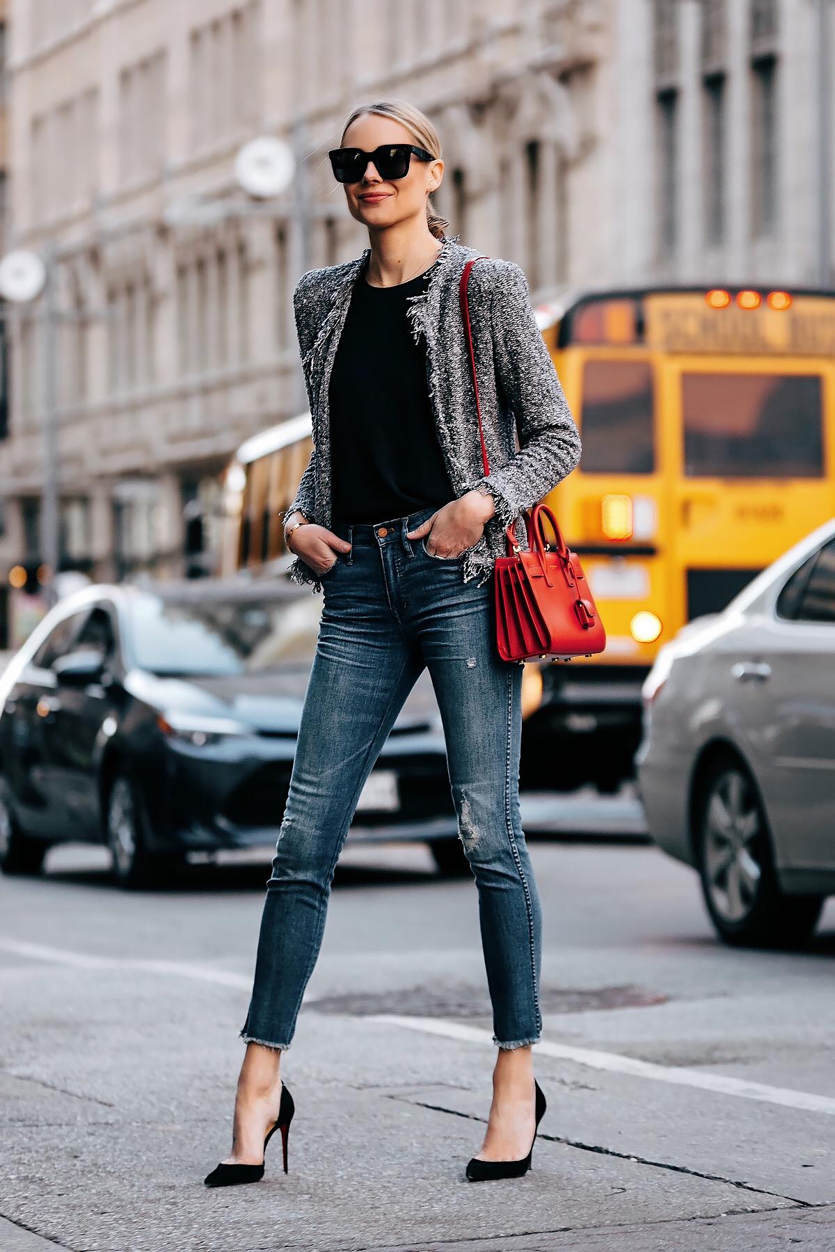 Blonde Woman Wearing IRO Grey Tweed Jacket Black Top Denim Ripped Skinny Jeans Black Pumps Red YSL Sac De Jour Nano Fashion Jackson San Diego Fashion Blogger Street Style