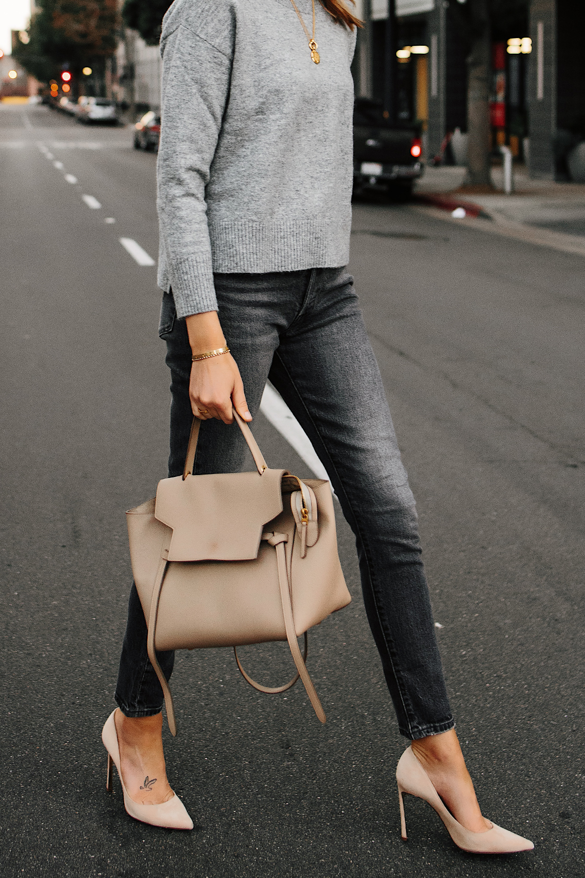Woman Wearing Levis 501 Grey High Waist Skinny Jeans Grey Sweater Tan Pumps Celine Mini Belt Bag Taupe Fashion Jackson San Diego Fashion Blogger Street Style