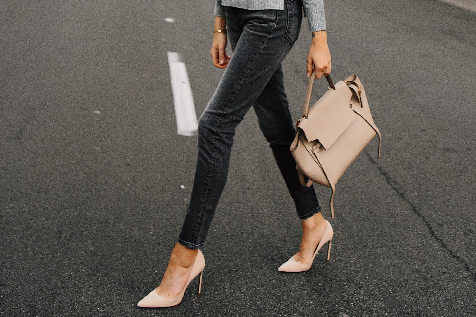 Woman Wearing Levis 501 Grey High Waist Skinny Jeans Tan Pumps Celine Mini Belt Bag Fashion Jackson San Diego Fashion Blogger Street Style