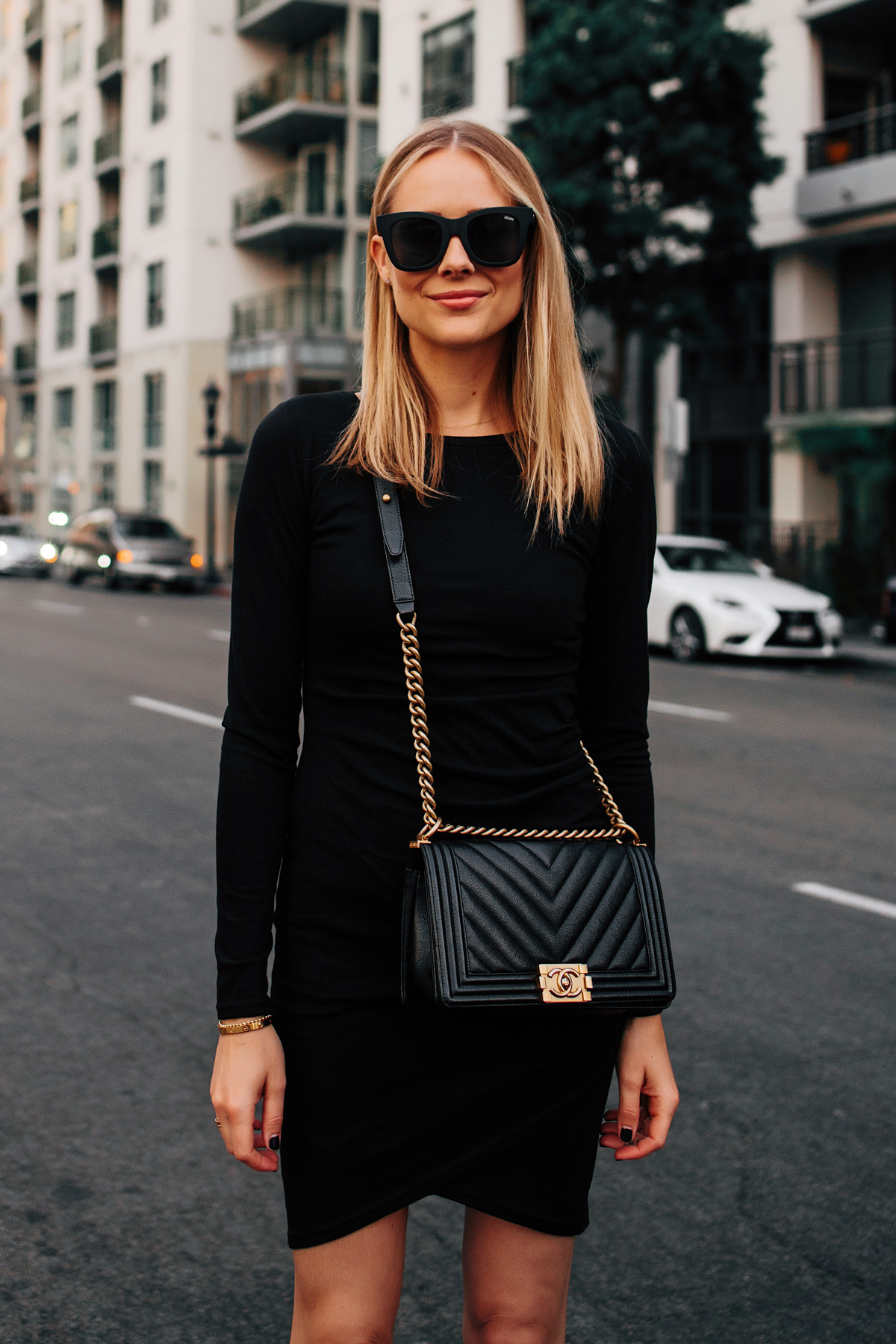 Blonde Woman Wearing Long Sleeve Black Bodycon Dress Chanel Black Boy Bag Fashion Jackson San Diego Fashion Blogger Street Style