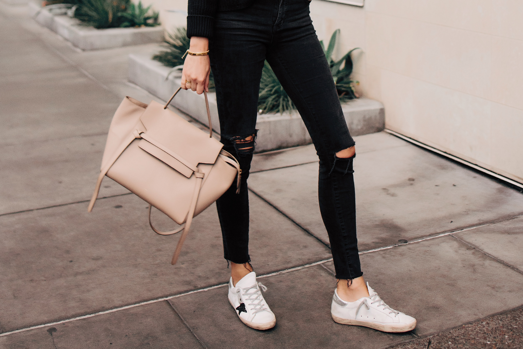 Woman Wearing Madewell Black Ripped Skinny Jeans Celine Mini Belt Bag Golden Goose Deluxe Brand Sneakers Fashion Jackson San Diego Fashion Blogger Street Style